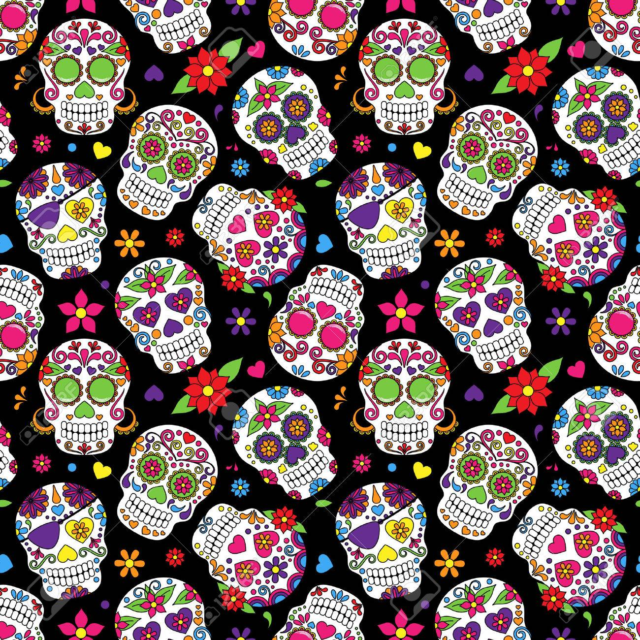Day of the Dead Sugar Skull Seamless Vector Background - 36626870