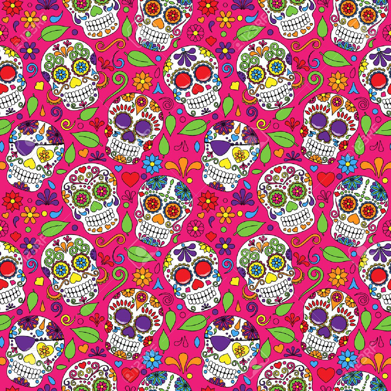 Day of the Dead Sugar Skull Seamless Vector Background - 36626876