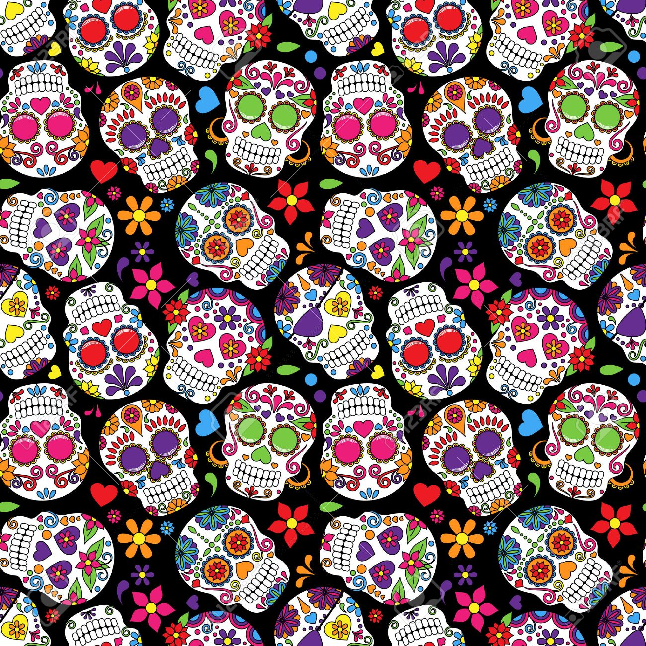 Day of the Dead Sugar Skull Seamless Vector Background - 36626880