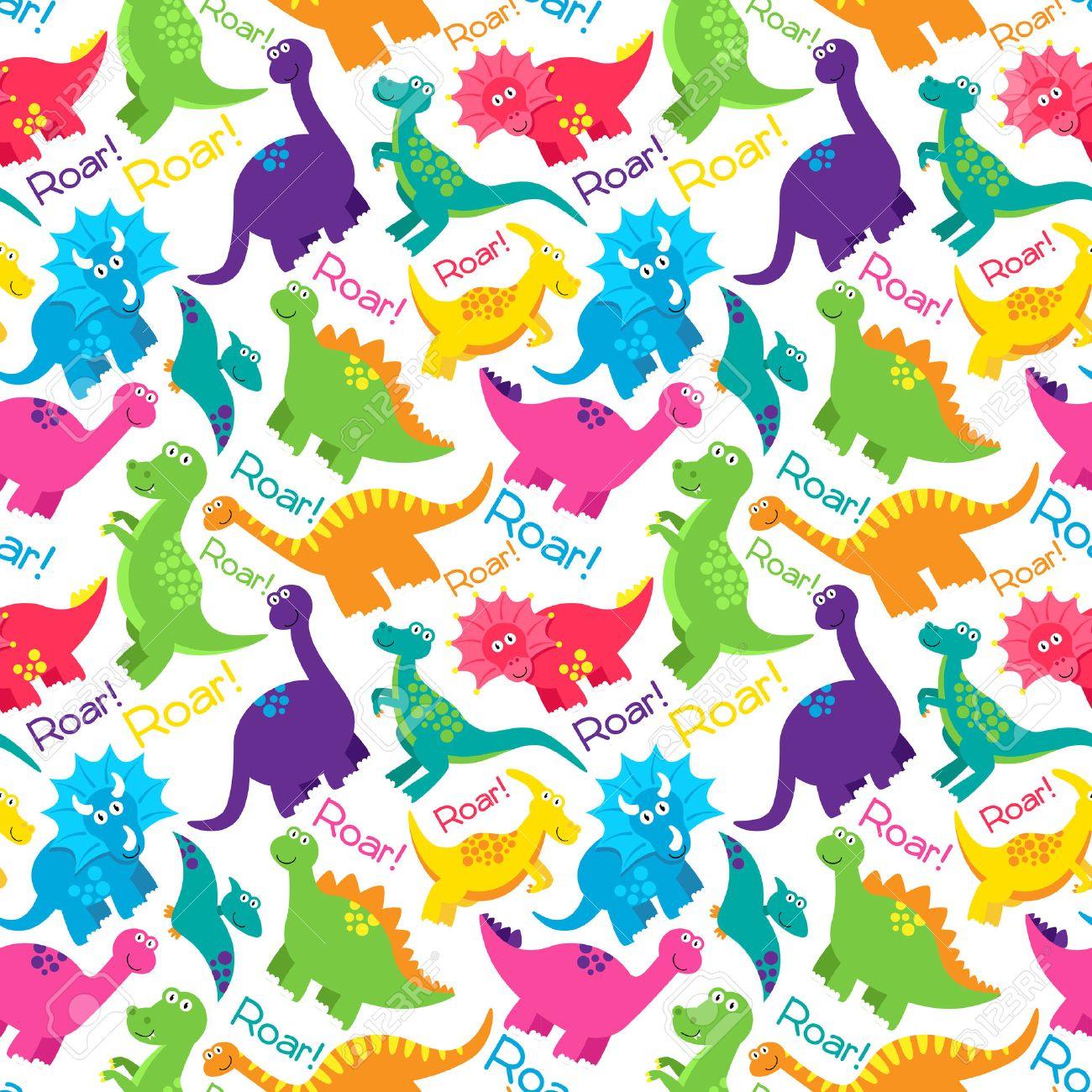 Dinosaur Seamless Tileable Vector Background Pattern - 37193145