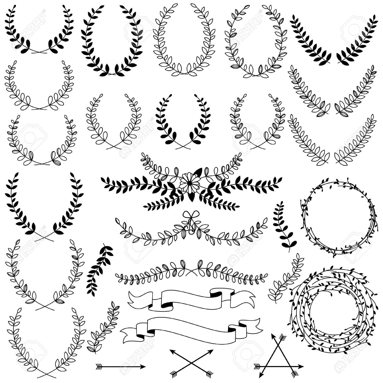 Vector Collection of Black Line Laurels, Floral Elements and Banners - 37455743