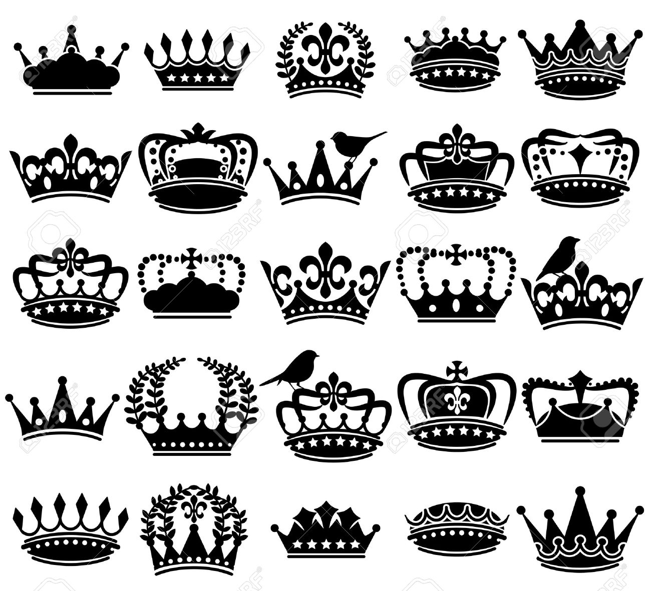 Vector Collection of Vintage Style Crown Silhouettes - 37890740