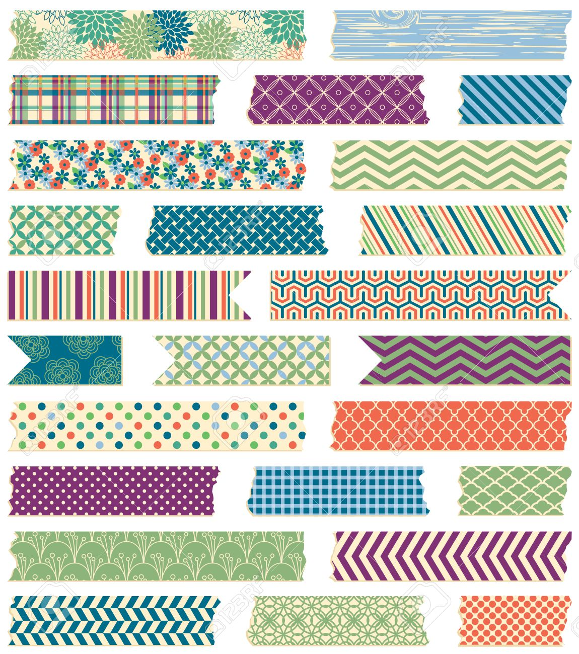 Vector Collection of Cute Patterned Washi Tape Strips in Masculine Colors - 38961779