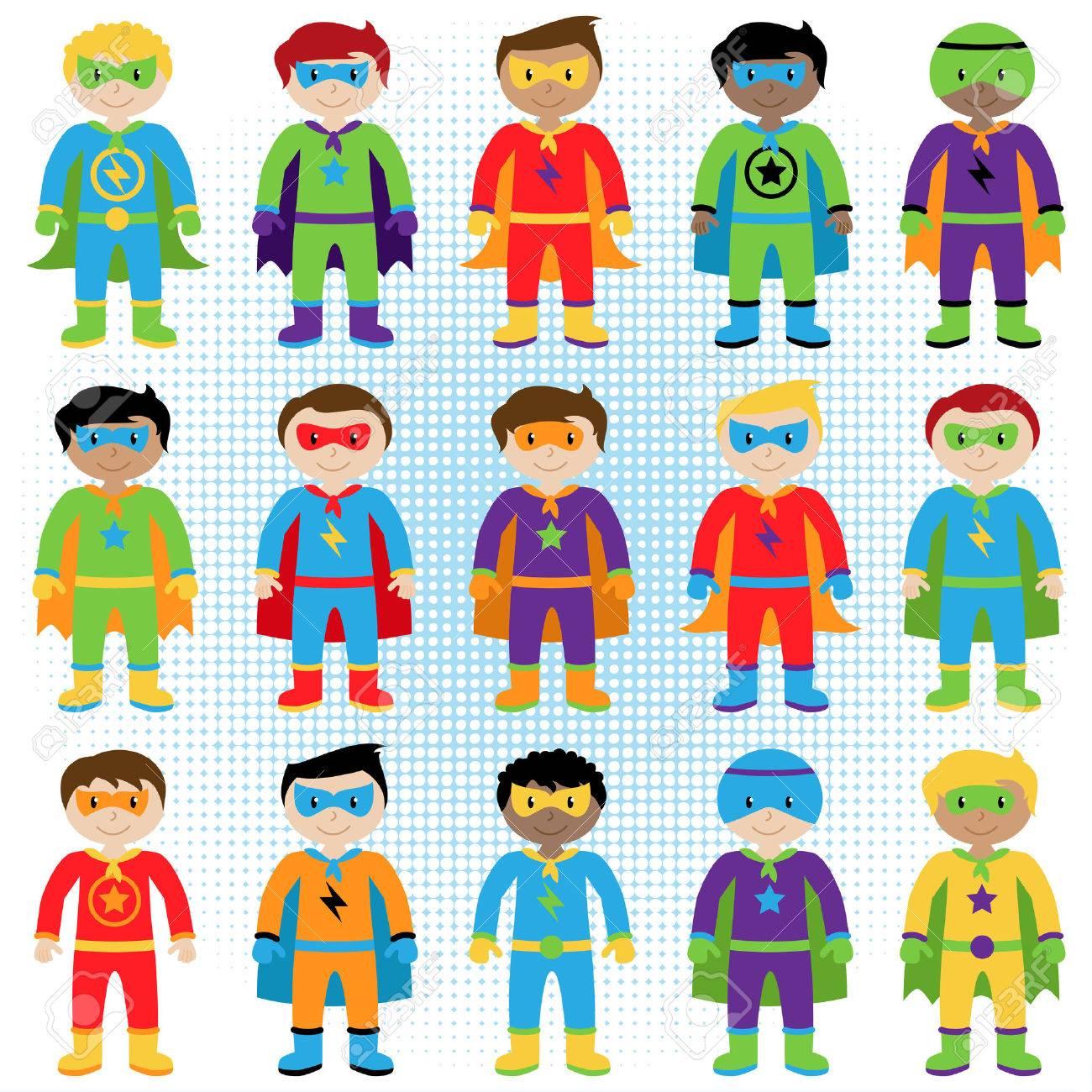 Set of Boy Superheroes in Vector Format - 38961791