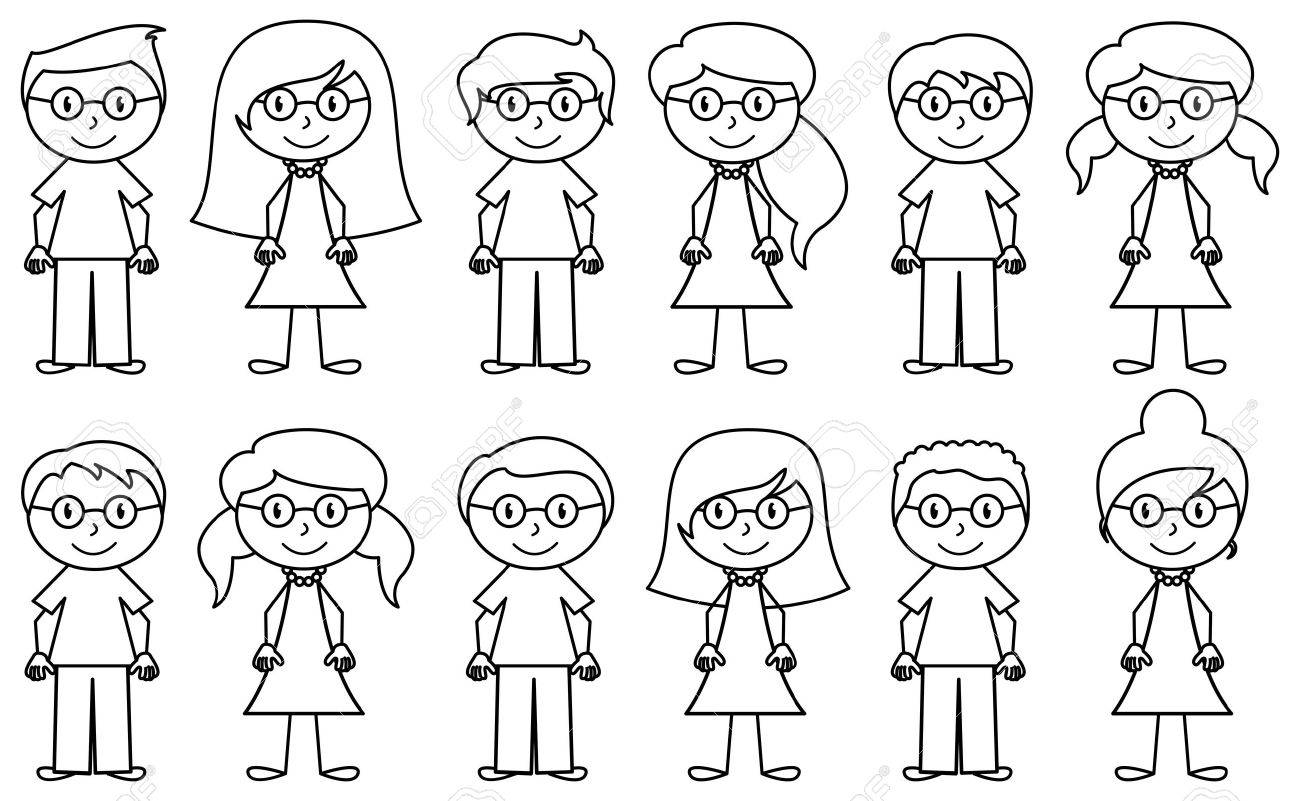 Set of Cute and Diverse Stick People in Vector Format - 39534454