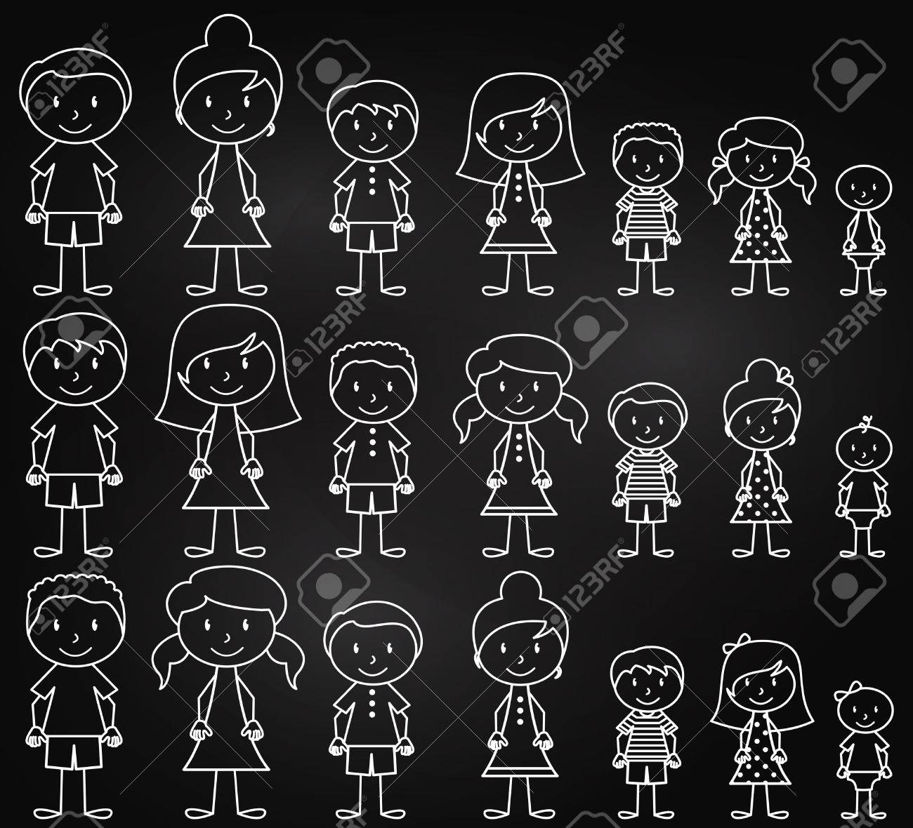 Set of Cute and Diverse Chalkboard Stick People in Vector Format - 39636811