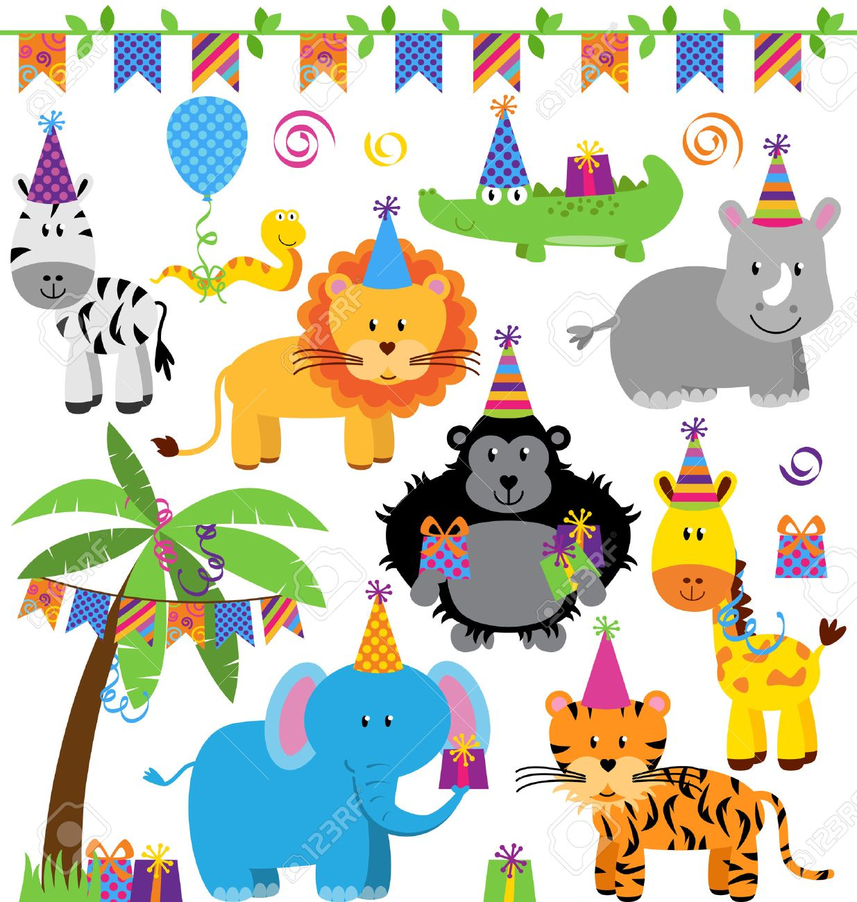 Vector Collection Of Birthday Party Themed Jungle Zoo Or Safari