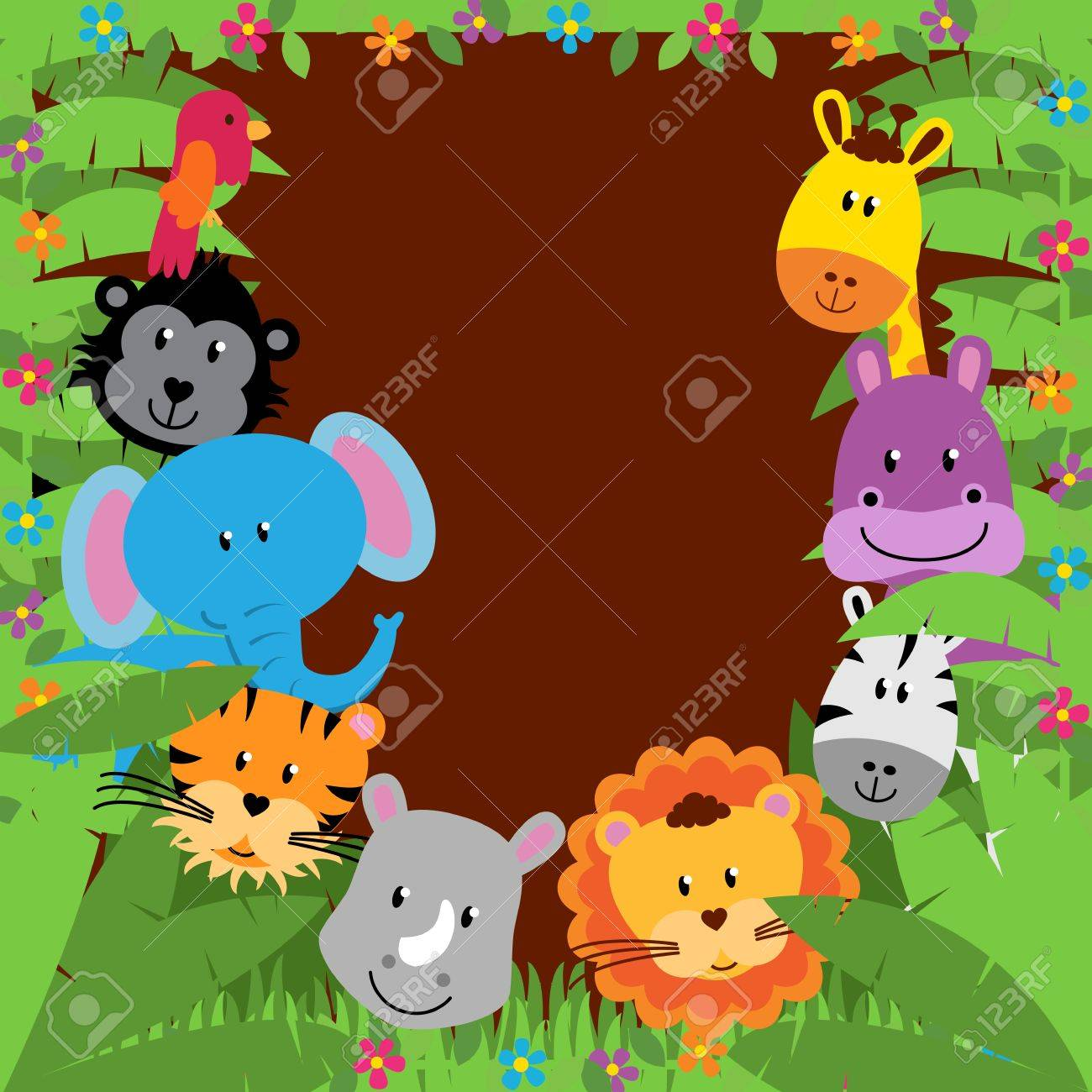 Jungle or Zoo Themed Animal Background - 40619383