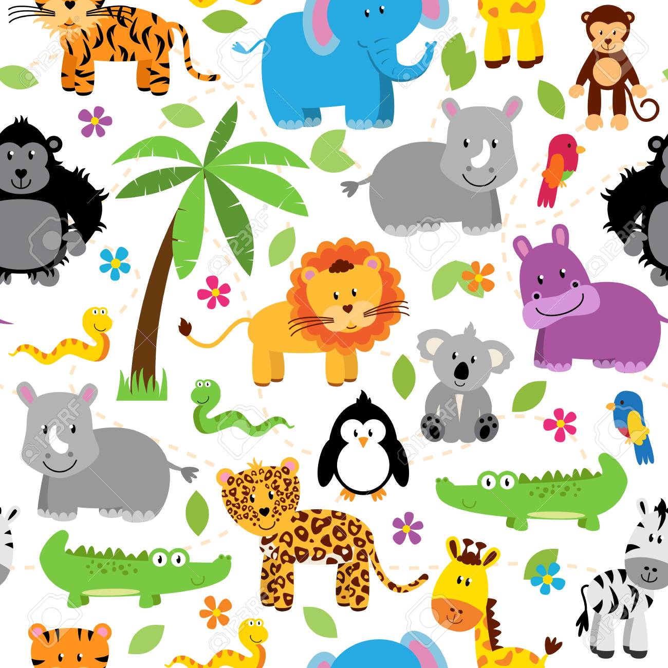 Seamless, Tileable Jungle or Zoo Animal Themed Background Patterns - 40619389