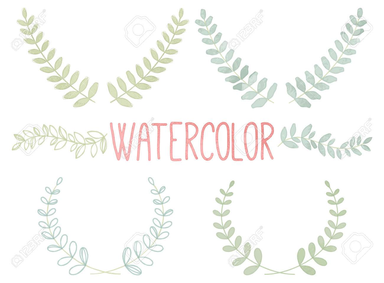 Vector Collection of Watercolor Style Laurels and Botanicals - 41448313