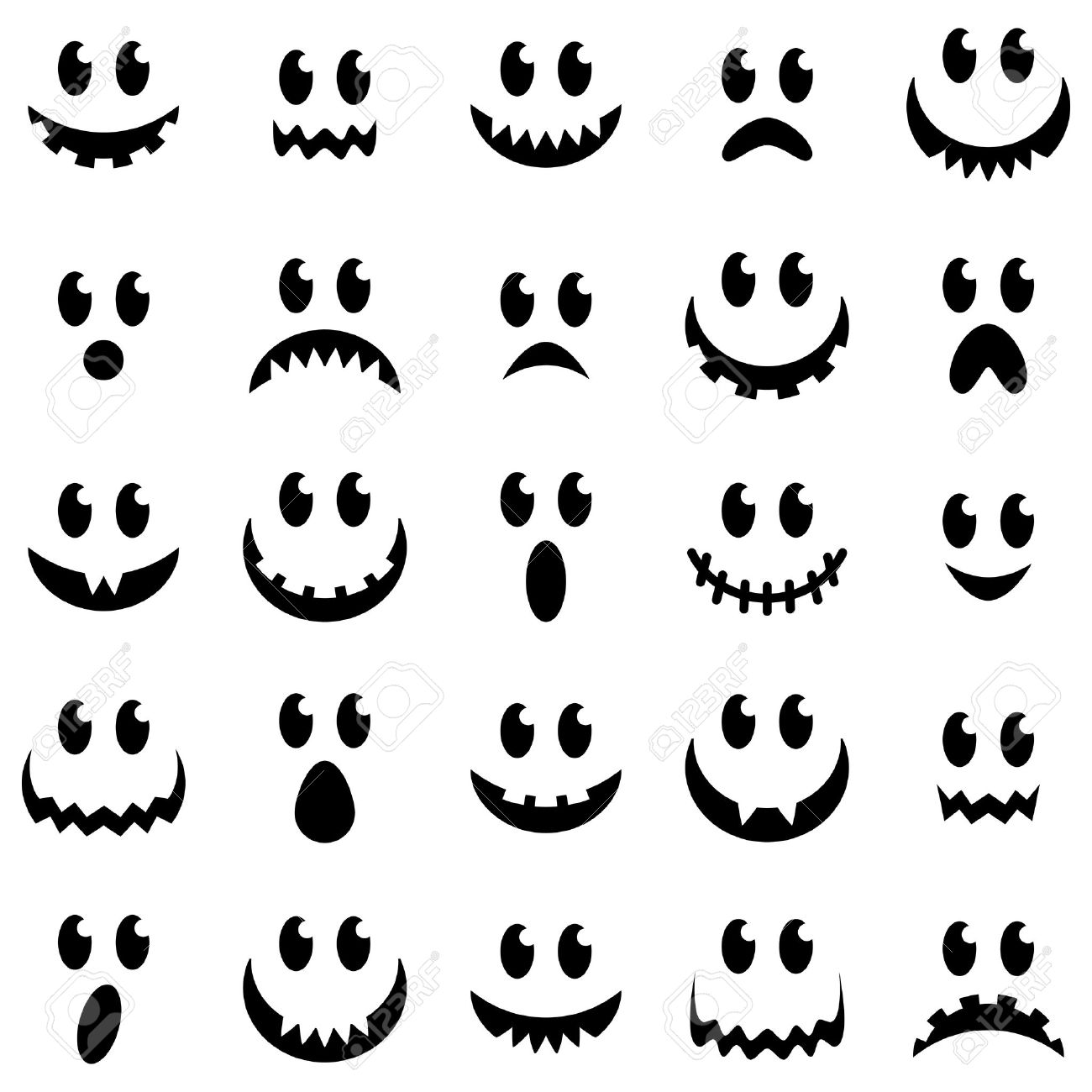 Vector Collection Of Spooky Halloween Ghost And Pumpkin Faces ...