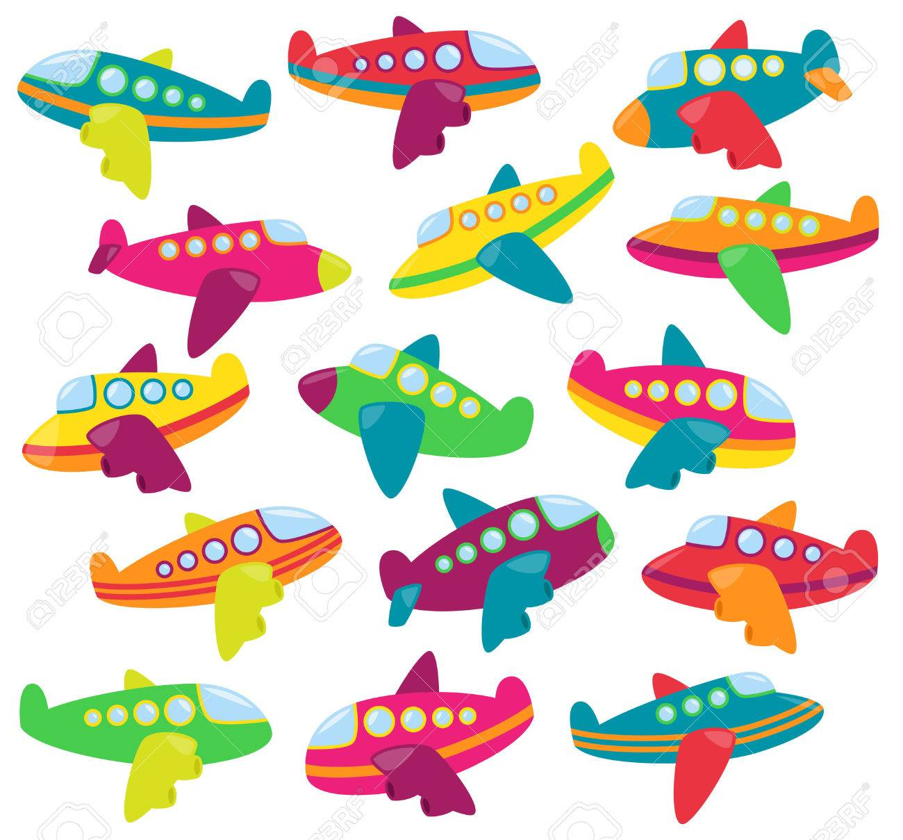 Vector Collection of Cute Airplanes or Airplane Toys - 44197463