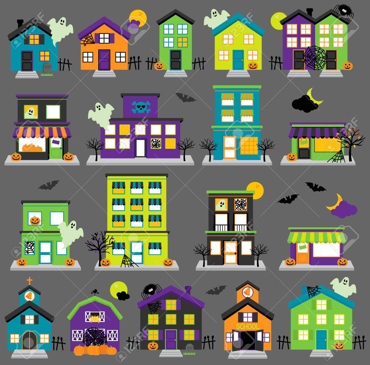 vector halloween town with haunted houses, shops, school, church