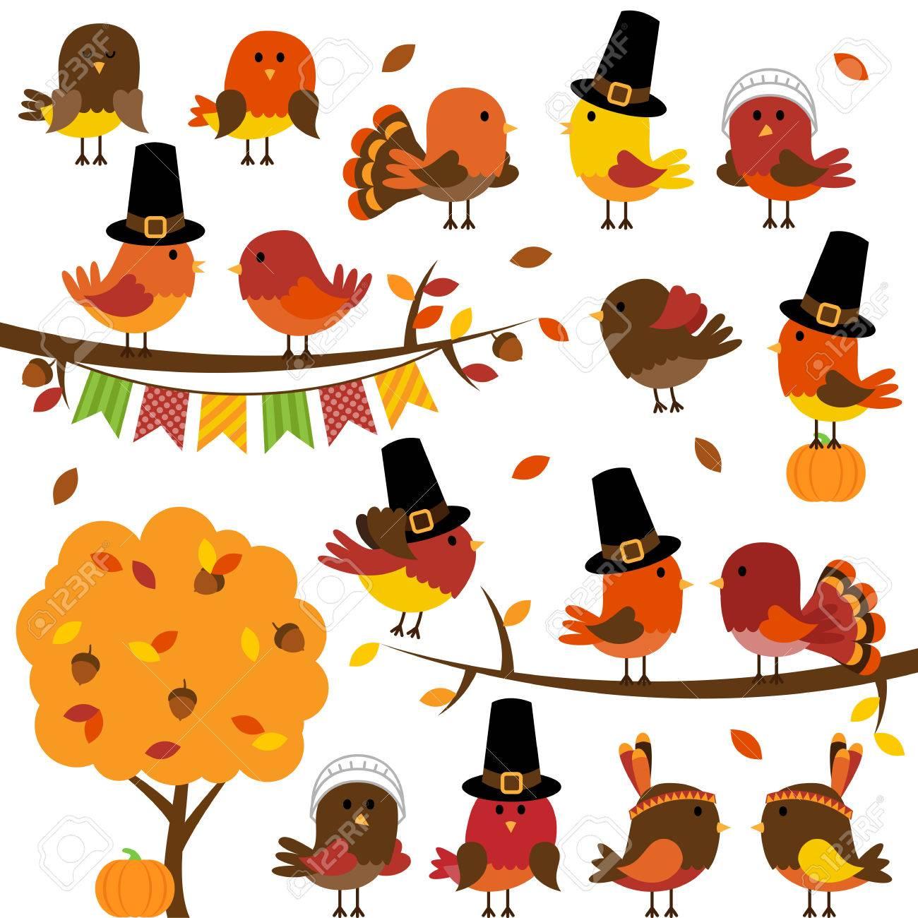 Vector Collection of Cute Thanksgiving and Autumn Birds - 44554486
