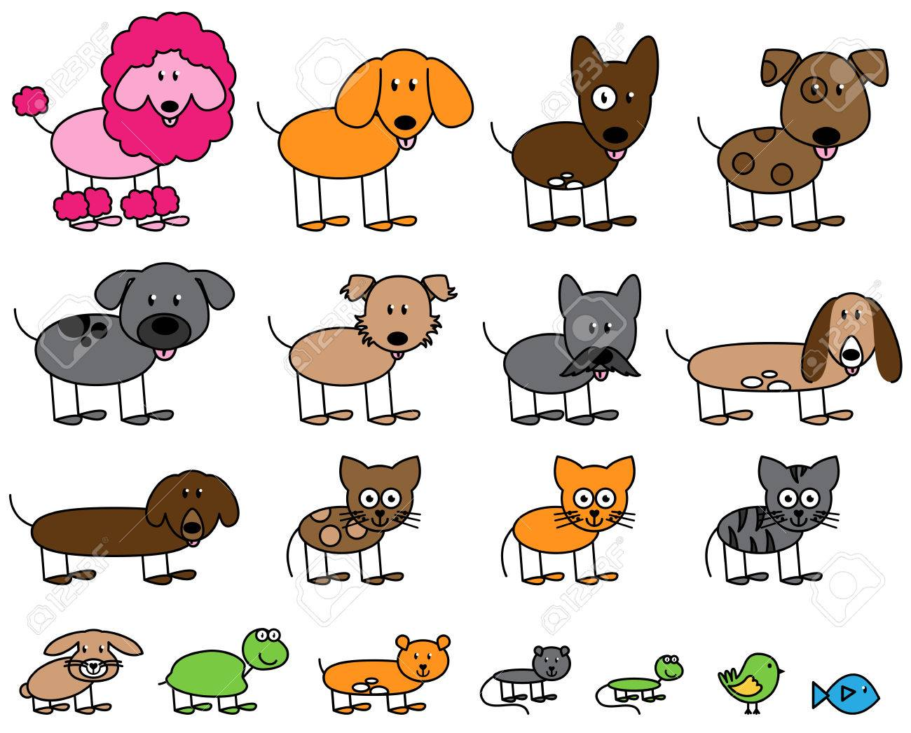 Vector Collection of Cute Stick Figure Pets and Animals - 45300350