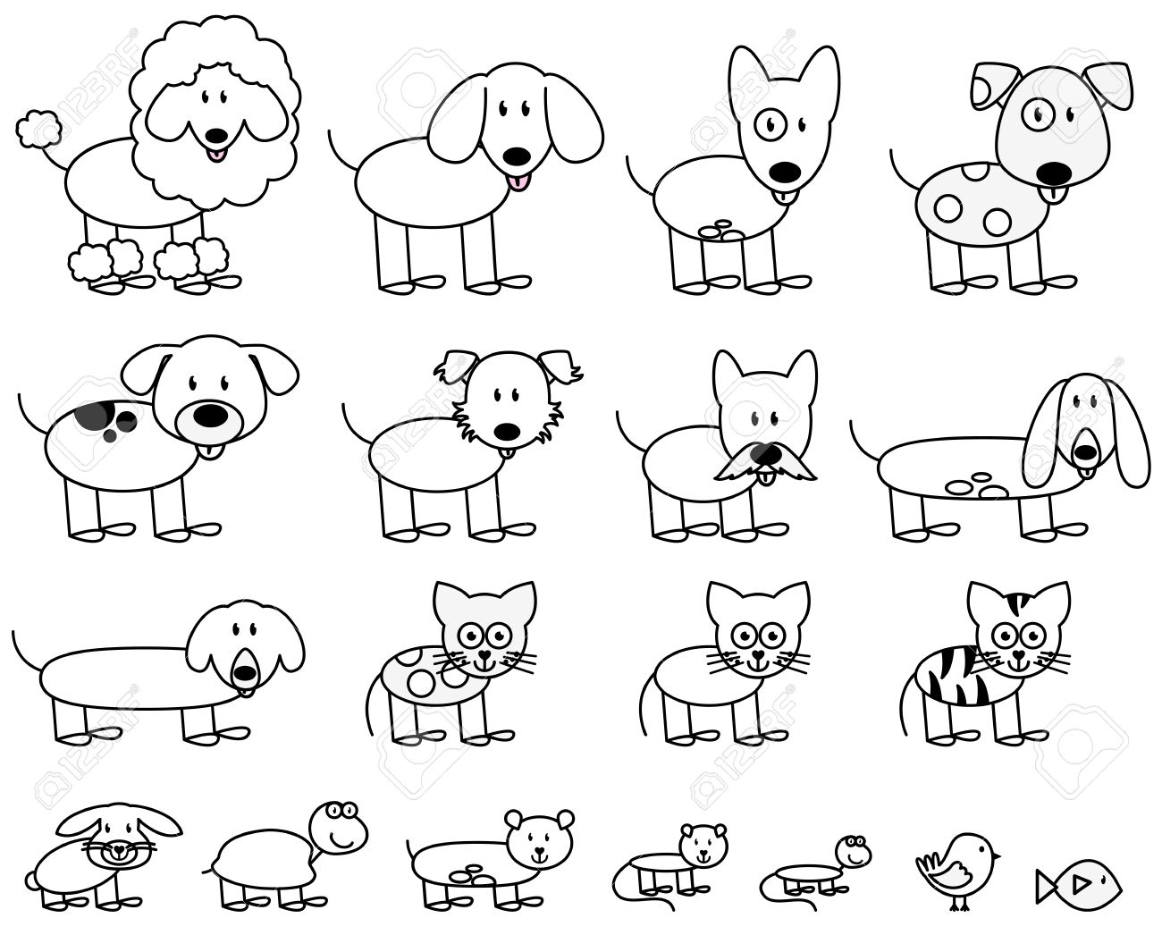 Vector Collection of Cute Stick Figure Pets and Animals - 45300349
