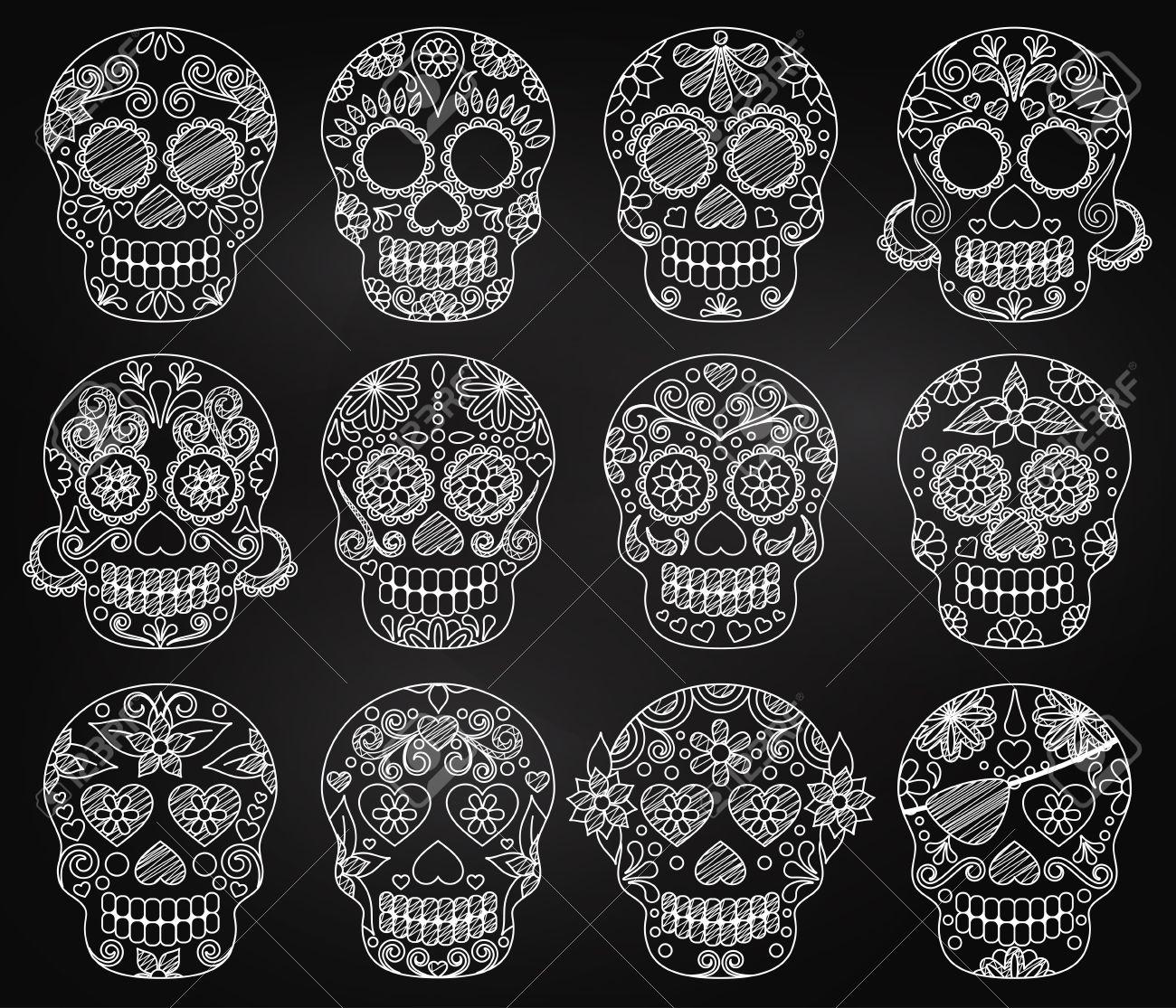 Vector Collection of Chalkboard Day of the Dead Skulls or Sugar Skulls - 45944595
