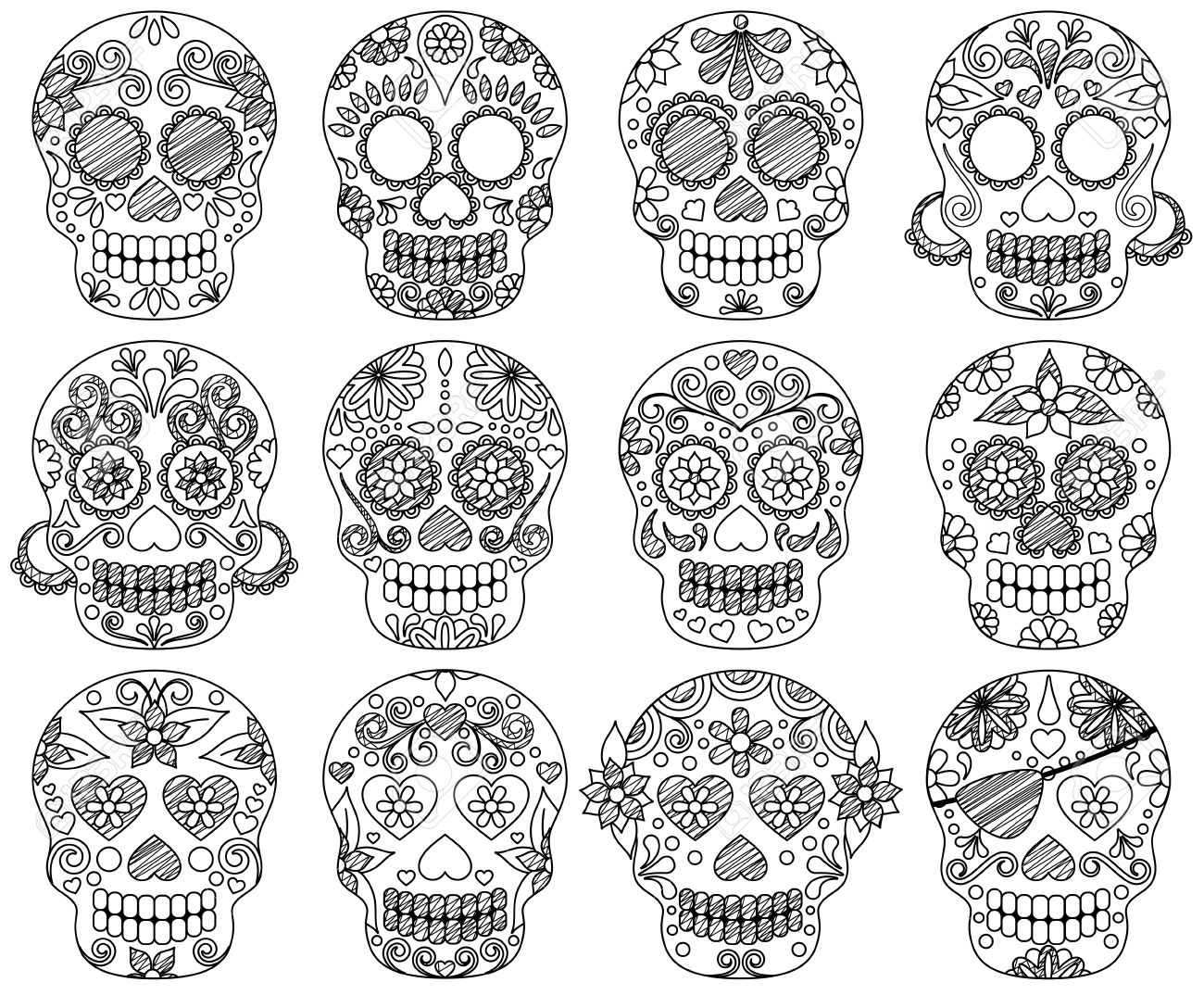 Vector Collection of Doodle Day of the Dead Skulls or Sugar Skulls - 45944596