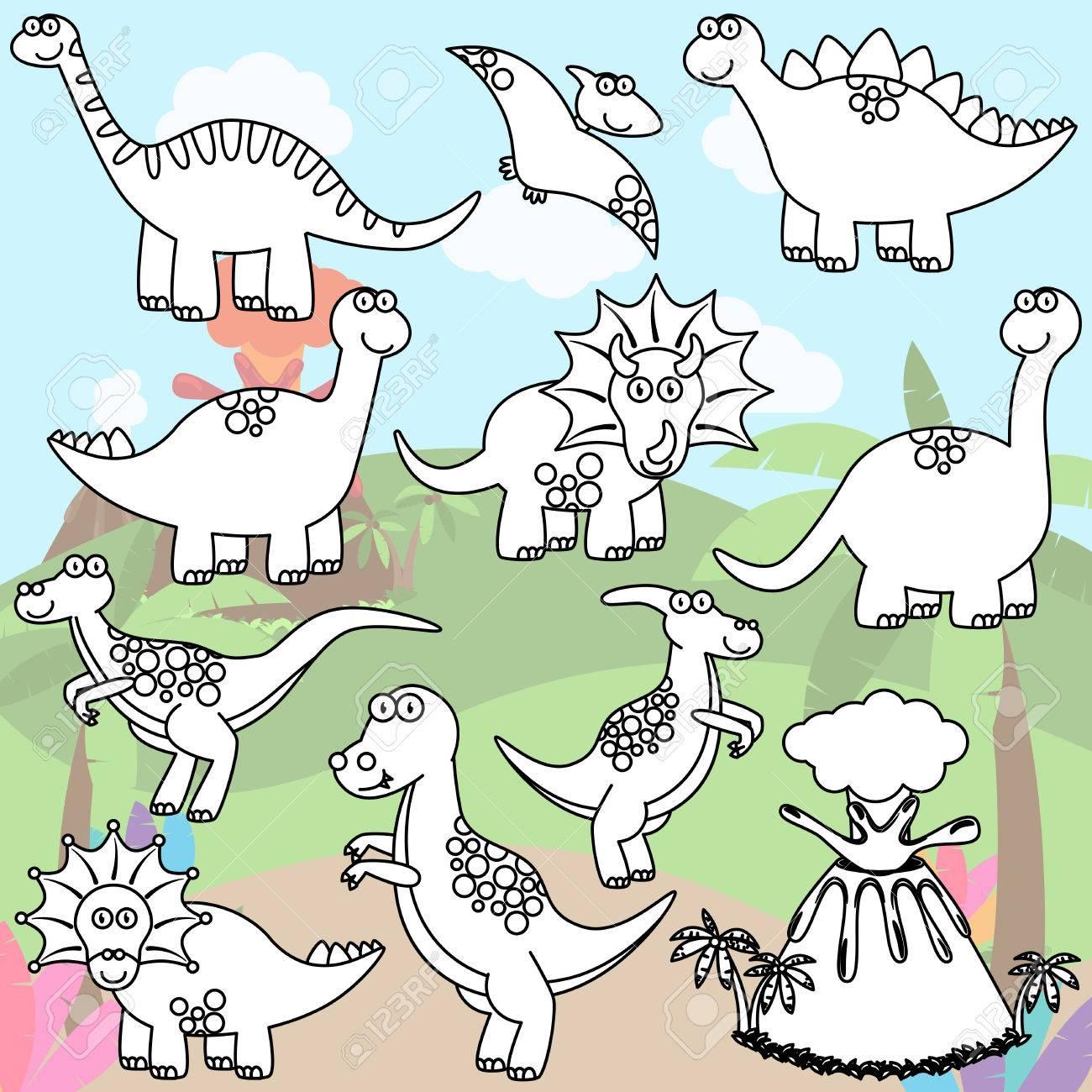 Página Para Colorear De Dinosaurios Línea De Arte Y Un Volcán