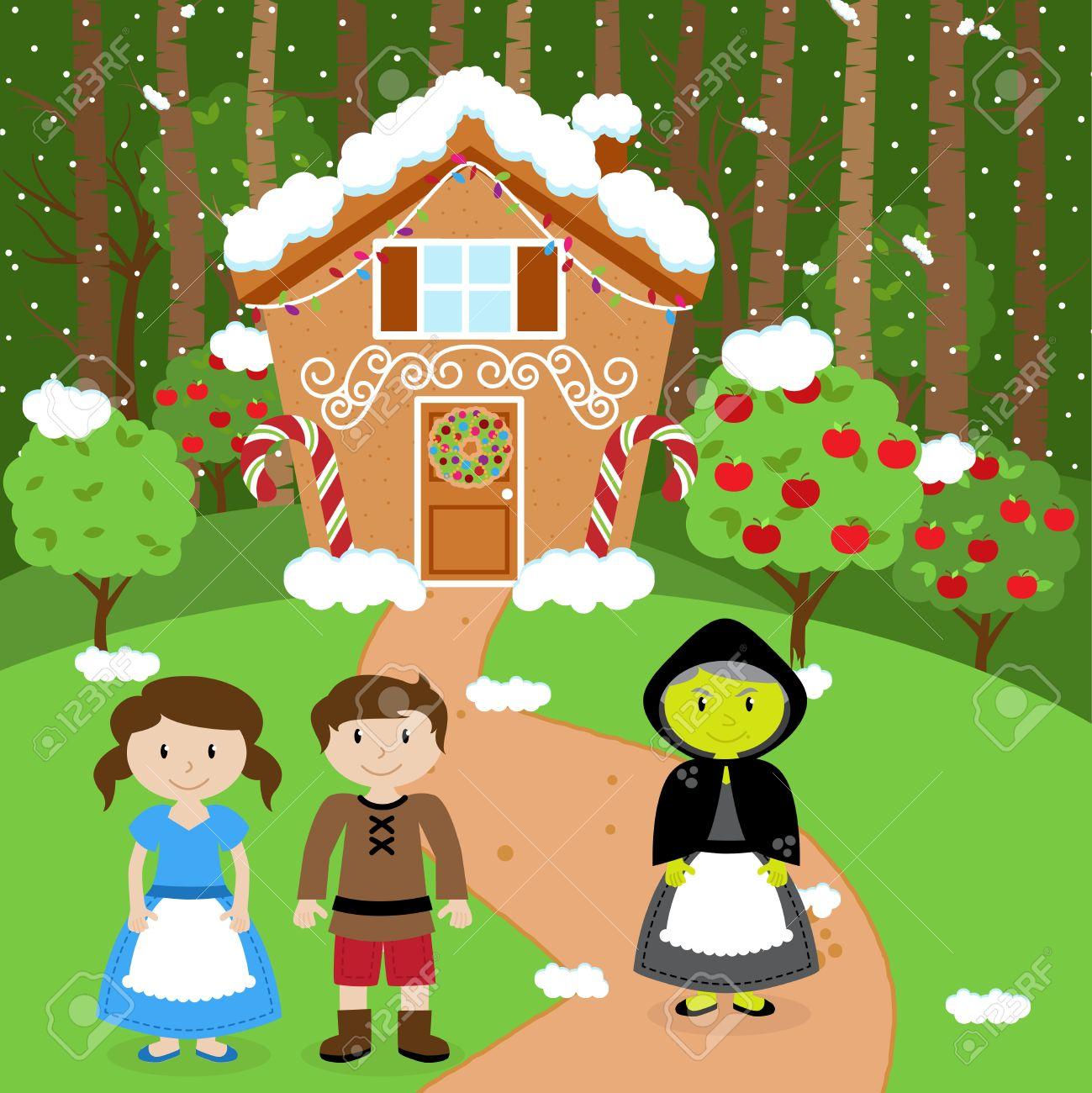 Fairytale Vector Hintergrund Mit Hänsel Und Gretel, Die Hexe Und Ihr ...