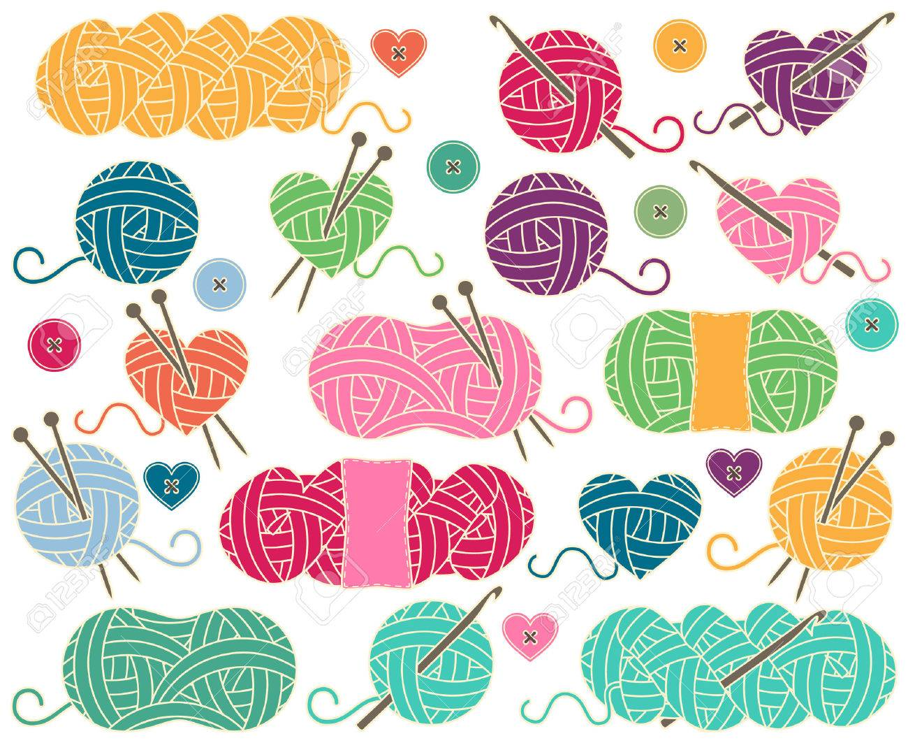 Cute Collection of Balls of Yarn, Skeins of Yarn or Thread for Knitting and Crochet - 63106634