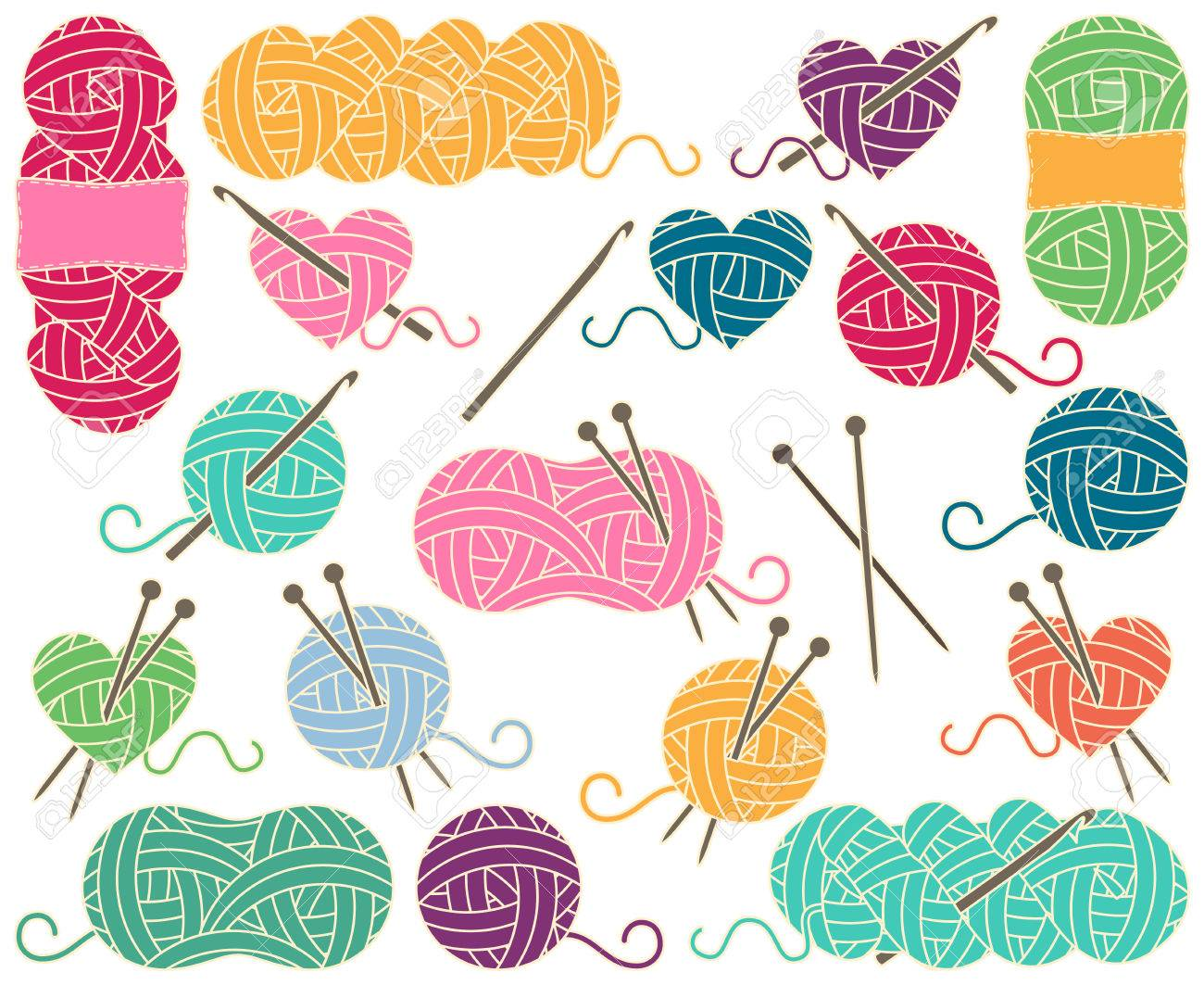 Cute Collection of Balls of Yarn, Skeins of Yarn or Thread for Knitting and Crochet - 63106639