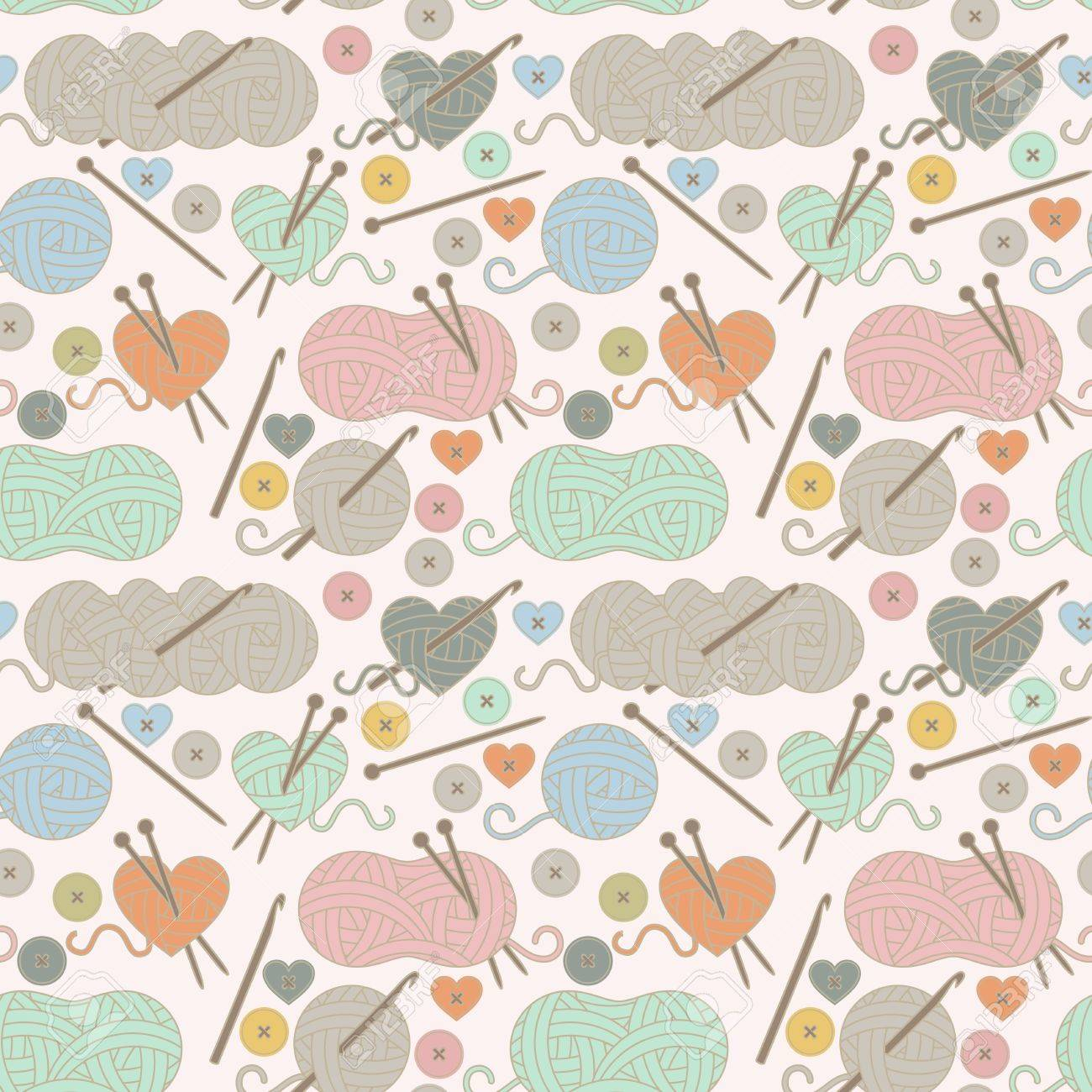 Seamless Tileable Background With Yarn Knitting Needles And Royalty Free Cliparts Vectors And Stock Illustration Image 63106651