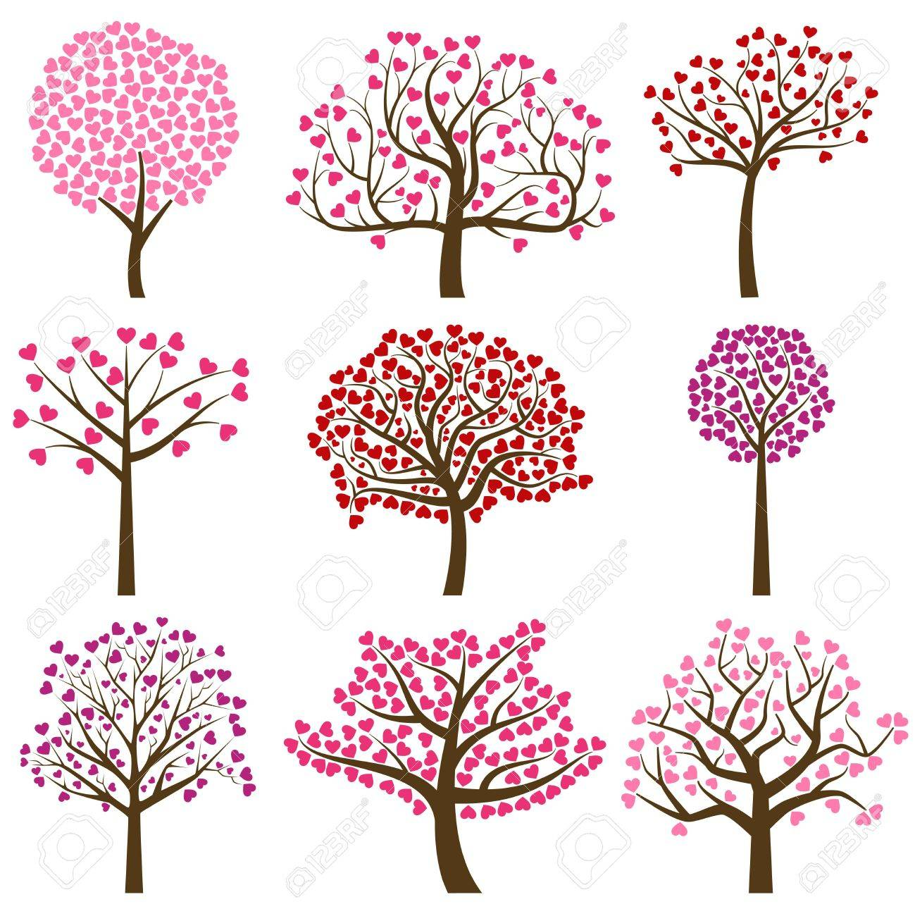 Valentines day tree silhouettes with heart shaped leaves vector valentines day tree silhouettes with heart shaped leaves vector format stock vector 69471778 mightylinksfo