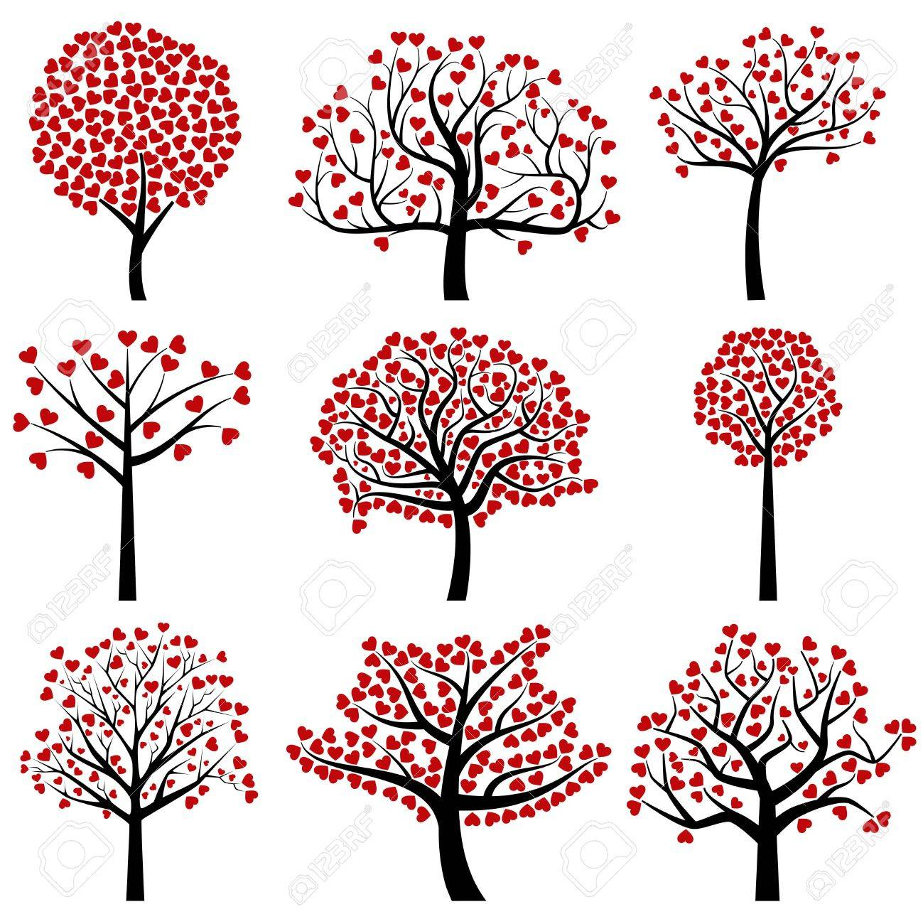 Valentine S Day Tree Silhouettes With Heart Shaped Leaves Vector