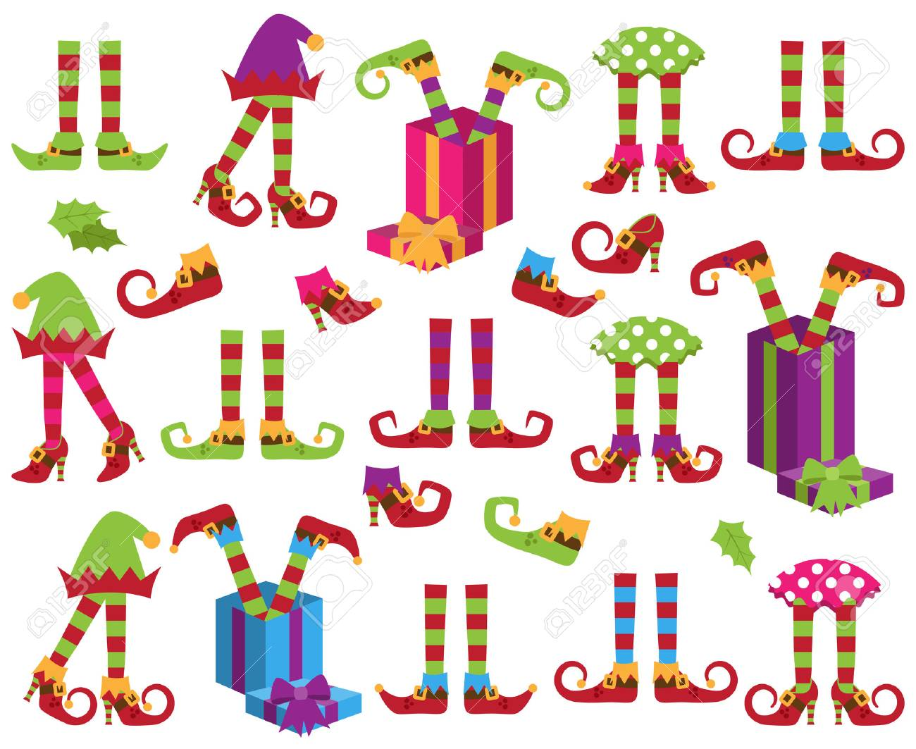 Cute Vector Collection of Christmas Holiday Elf Feet, Legs and Shoes - 86204934