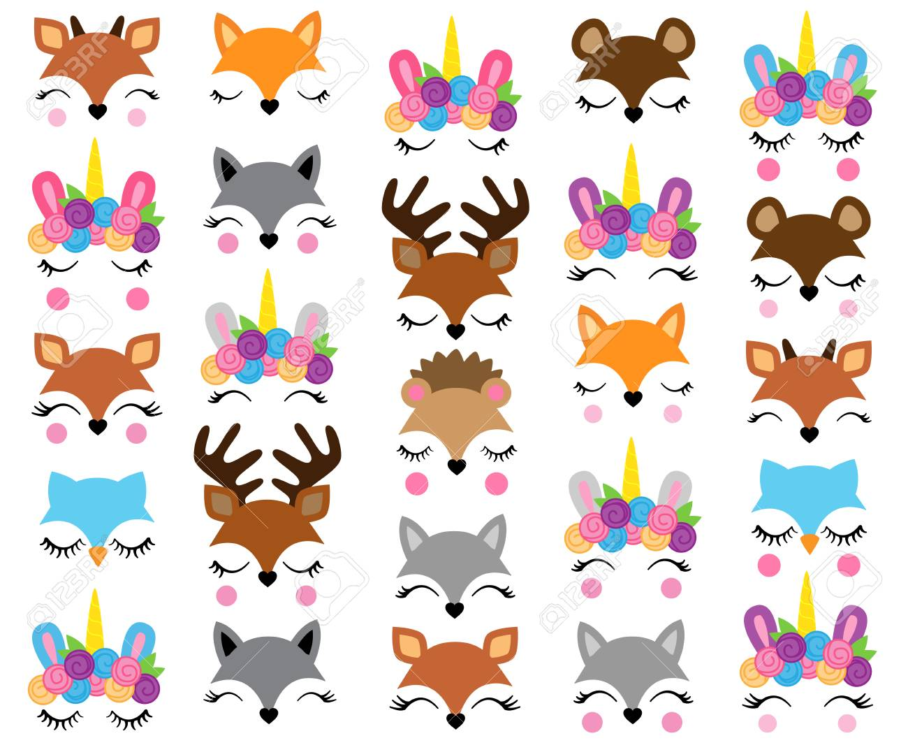 Mix and Match Animal Faces - Create Whimsical Animal Faces by Mix and Matching Heads, Eyes and Accessories - 103006962