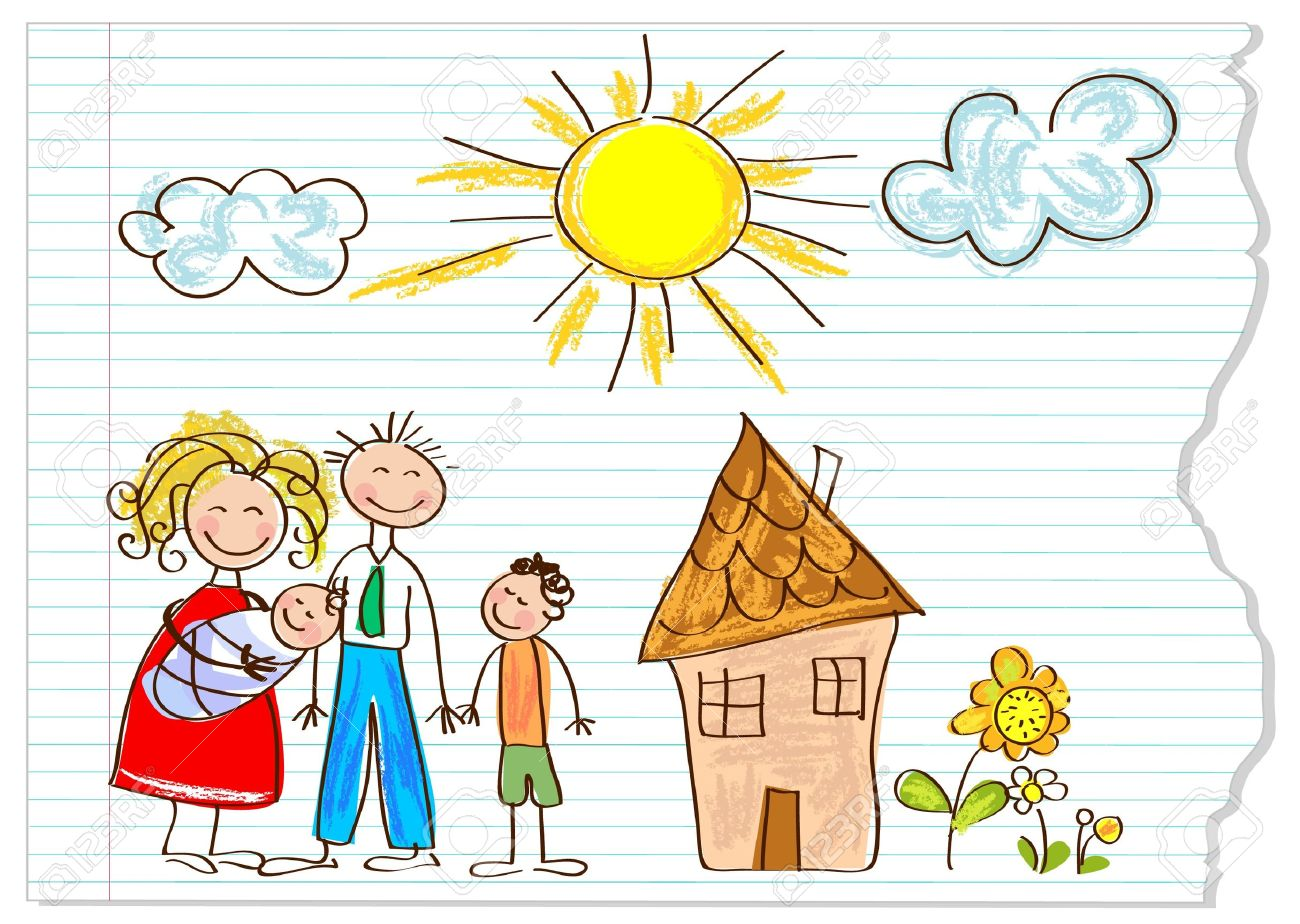 Children drawing  happy family  on a peace of paper Stock Vector - 12826217