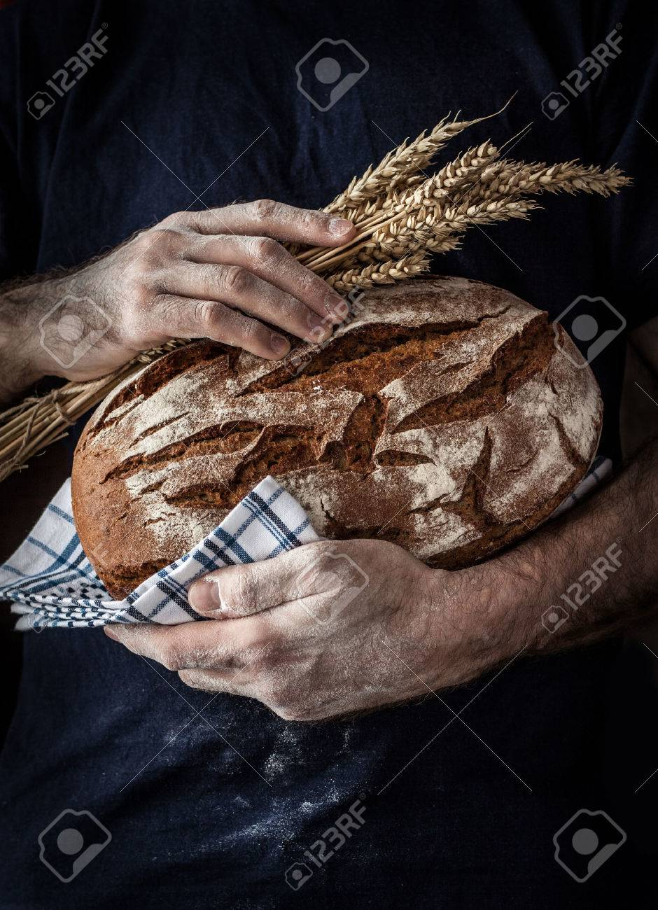 Baker man holding rustic organic loaf of bread and wheat in hands - rural bakery. Natural light, moody still life with free text space good for cover or poster. - 55317382