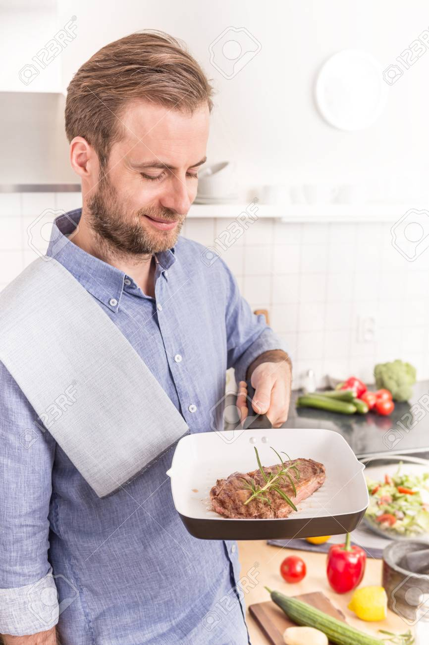 Happy Smiling Forty Years Old Caucasian Man Or Chef Holding Pan ...