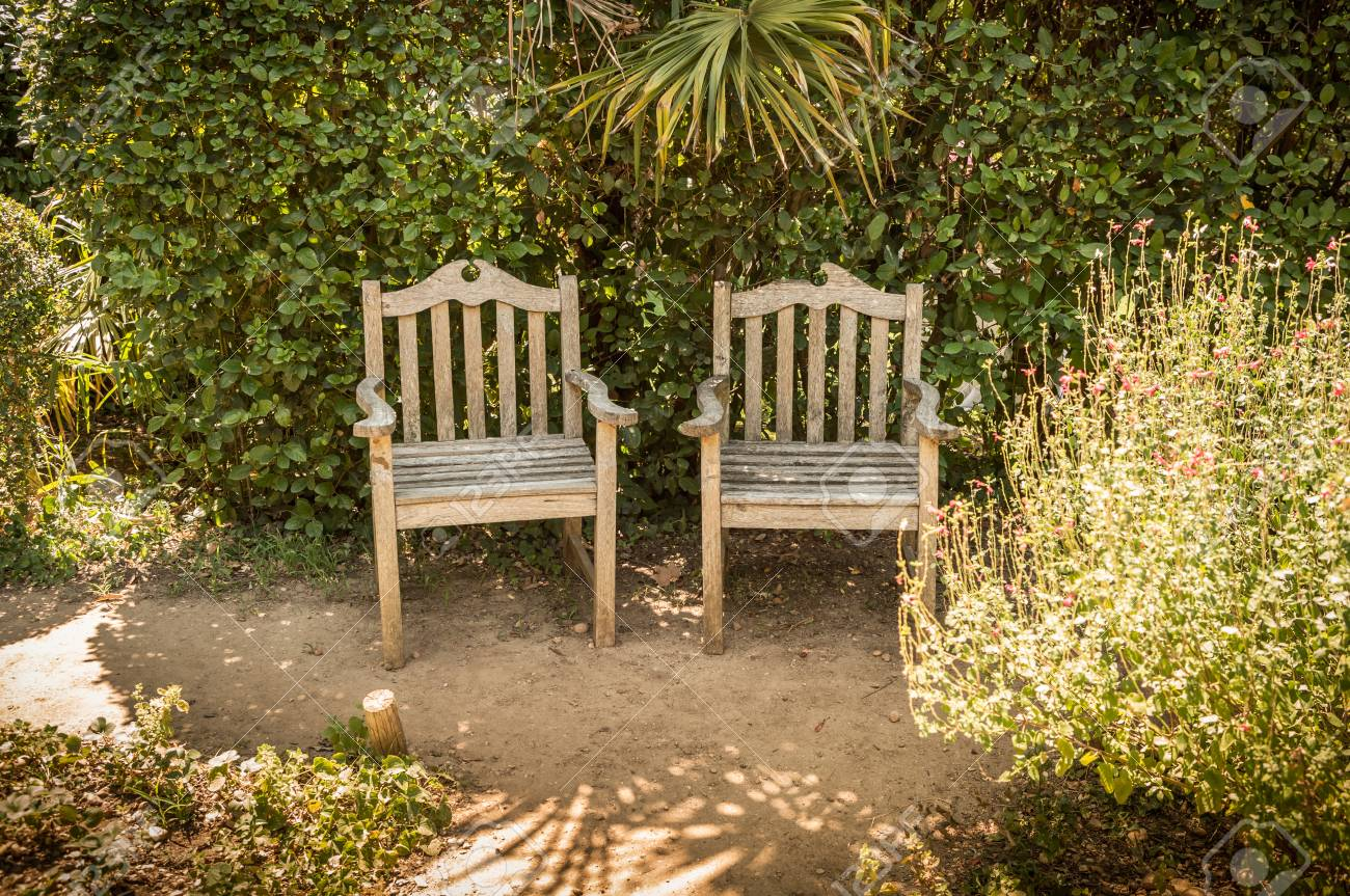 Amazing Summer Peaceful Vintage Garden Nook With Two Vintage Wooden Chairs Machost Co Dining Chair Design Ideas Machostcouk