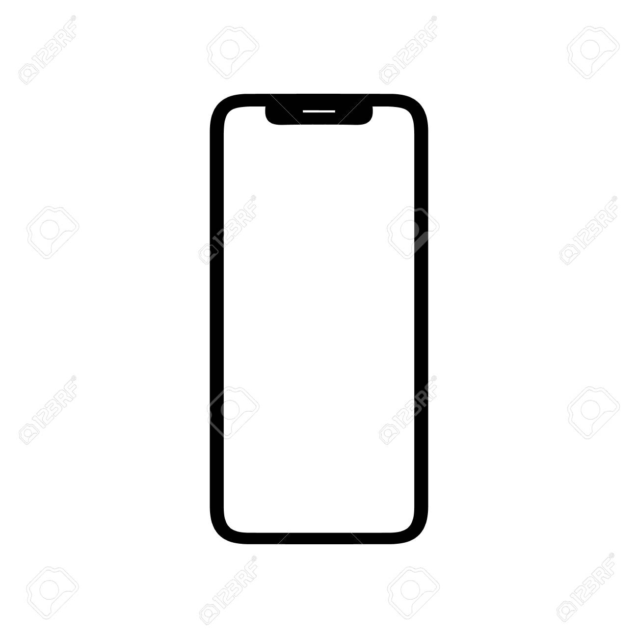Black phone vector icon smartphone on white background
