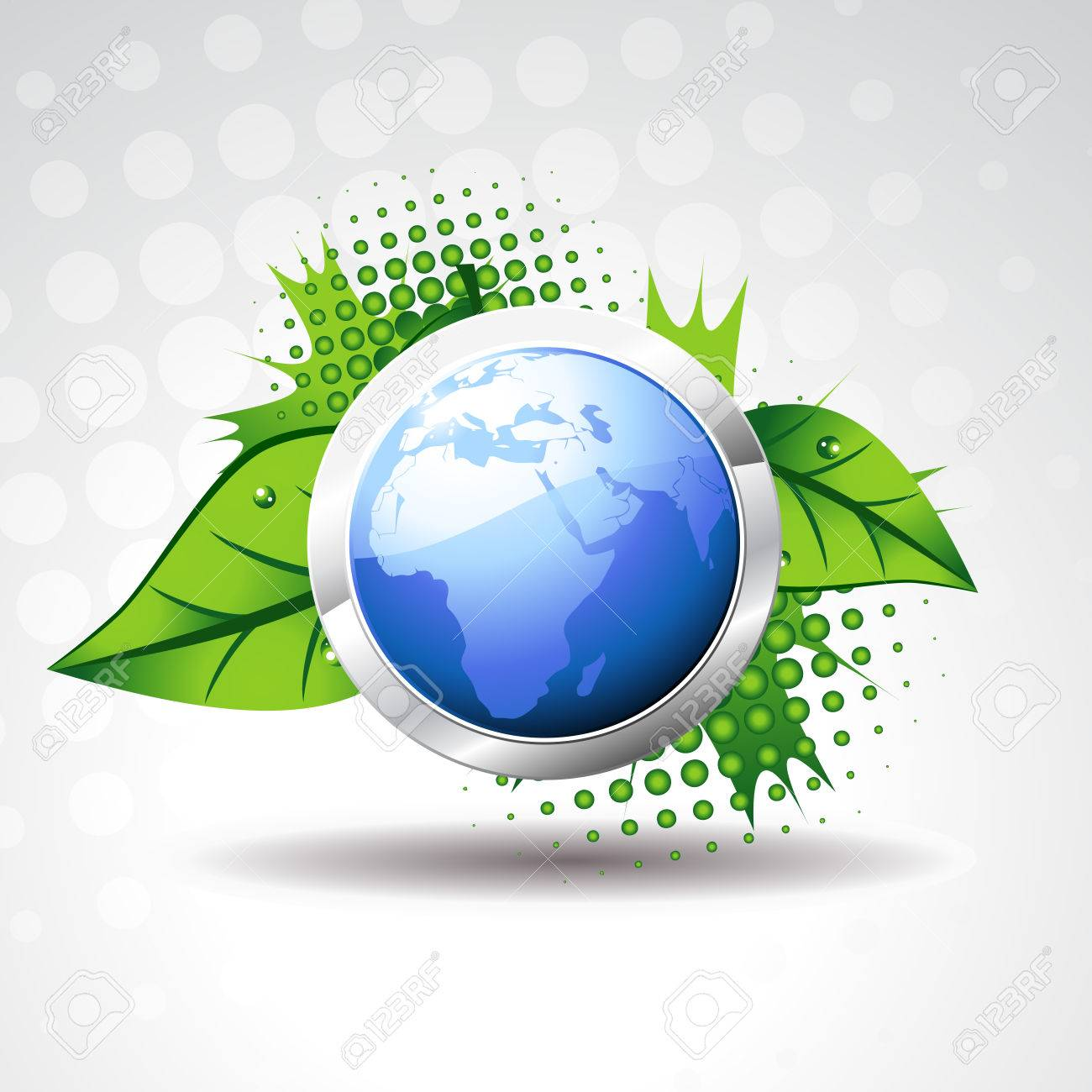 blue  earth with green leaves around it Stock Vector - 7476286