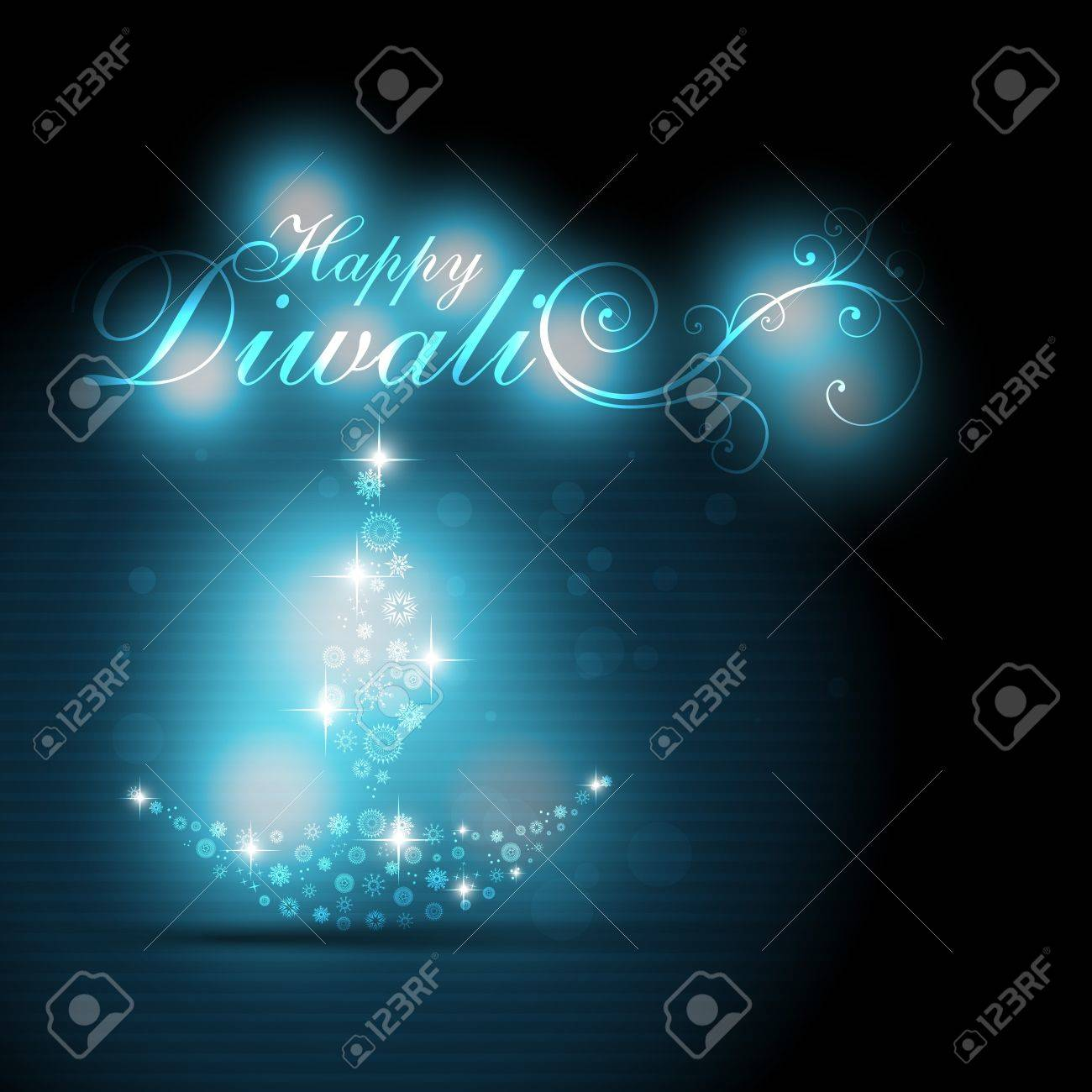 artistic diwali diya on glowing blue background Stock Vector - 11004443