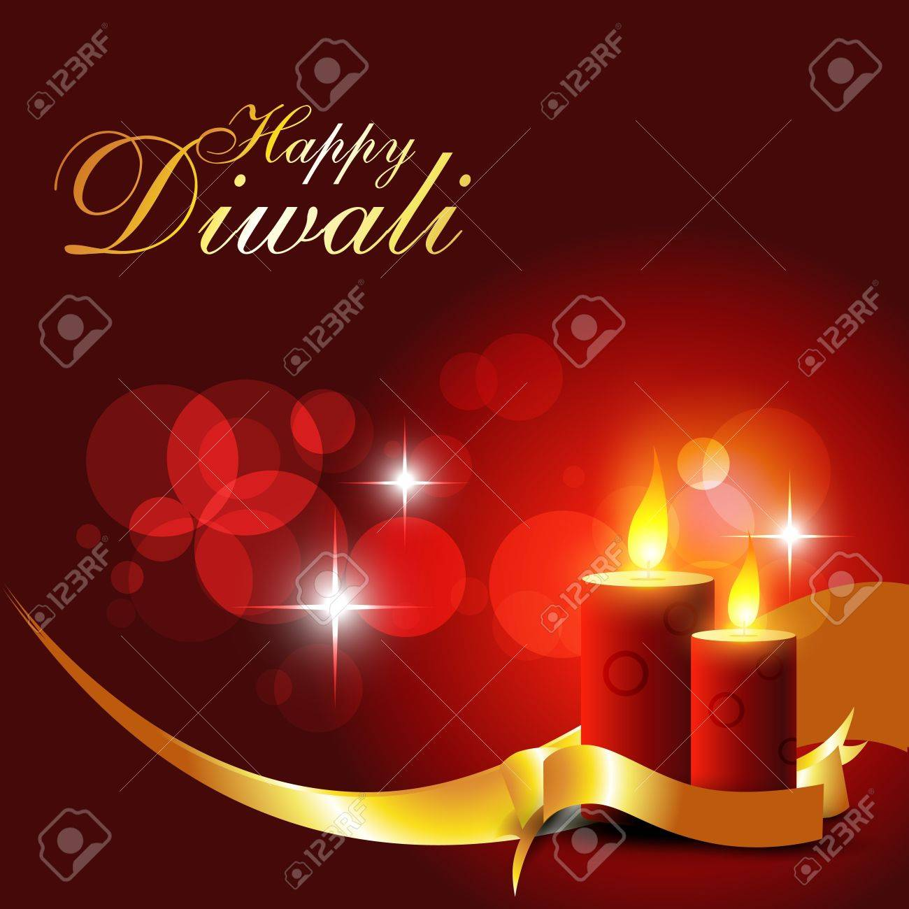 beautiful diwali candle on shiny red background Stock Vector - 11004484