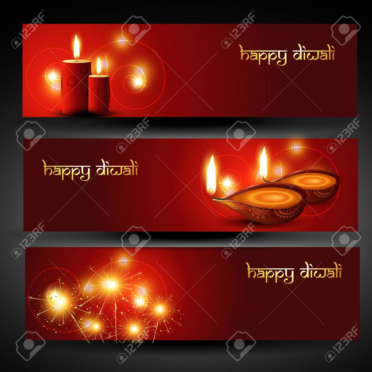 set of three diwali headers Stock Vector - 11004492