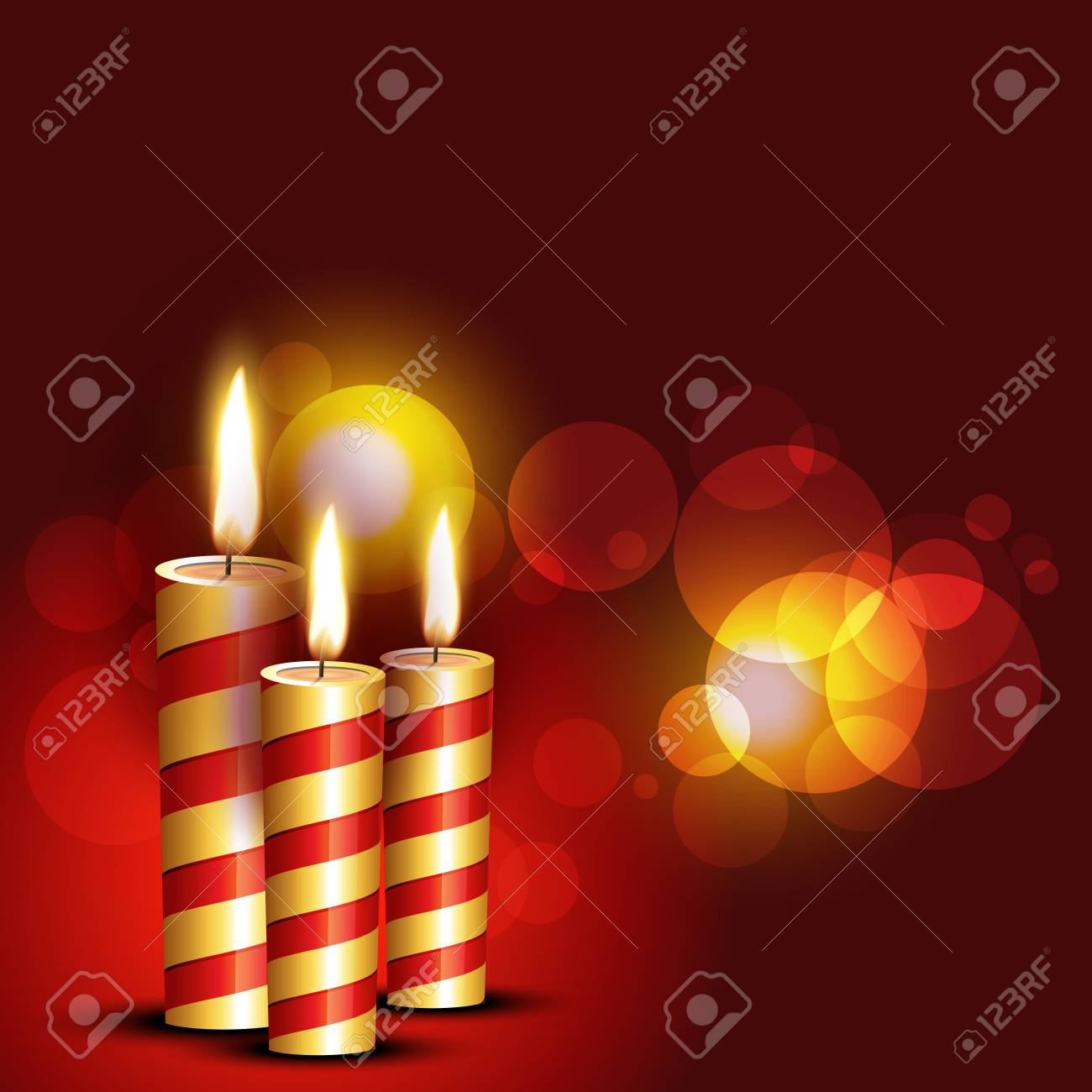 beautiful candles on red background Stock Vector - 11004493