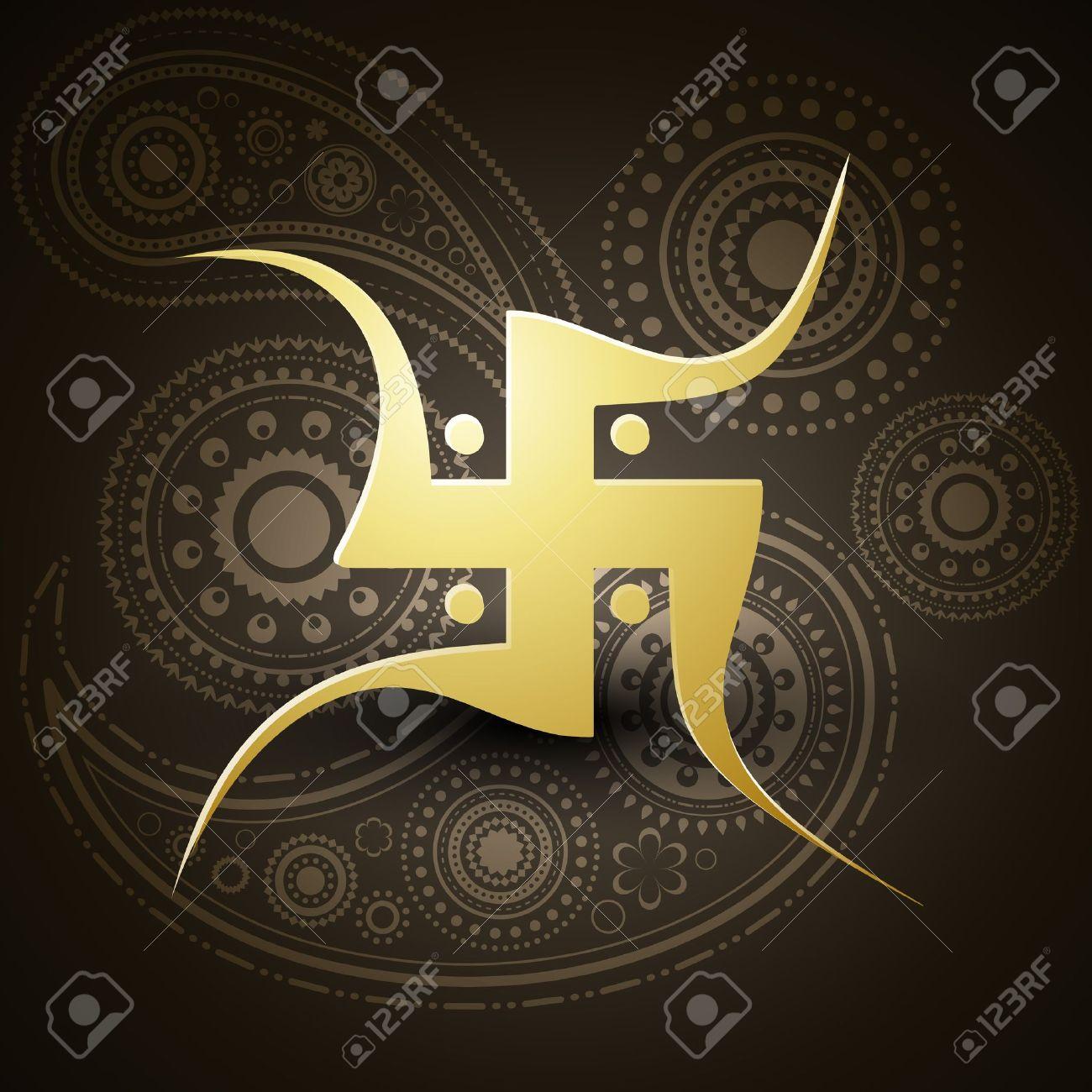vector golden swastik symbol on dark background Stock Vector - 11004420