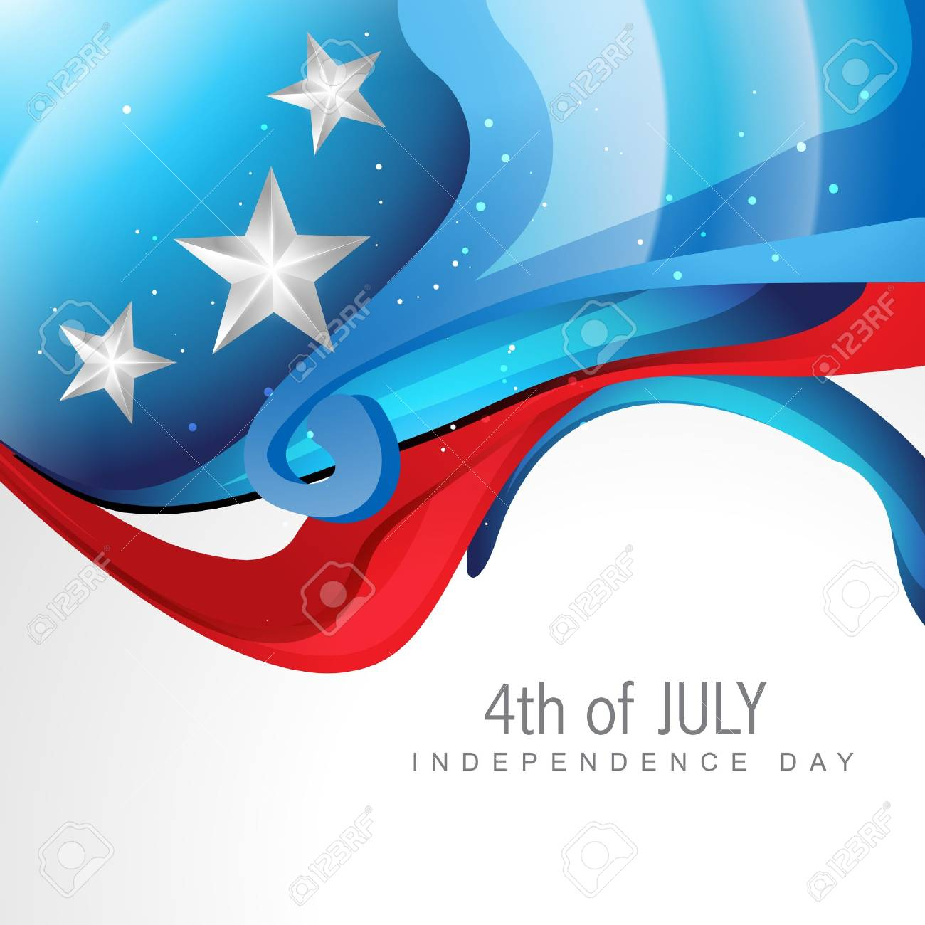 creative wave style 4th of july background Stock Vector - 14231885