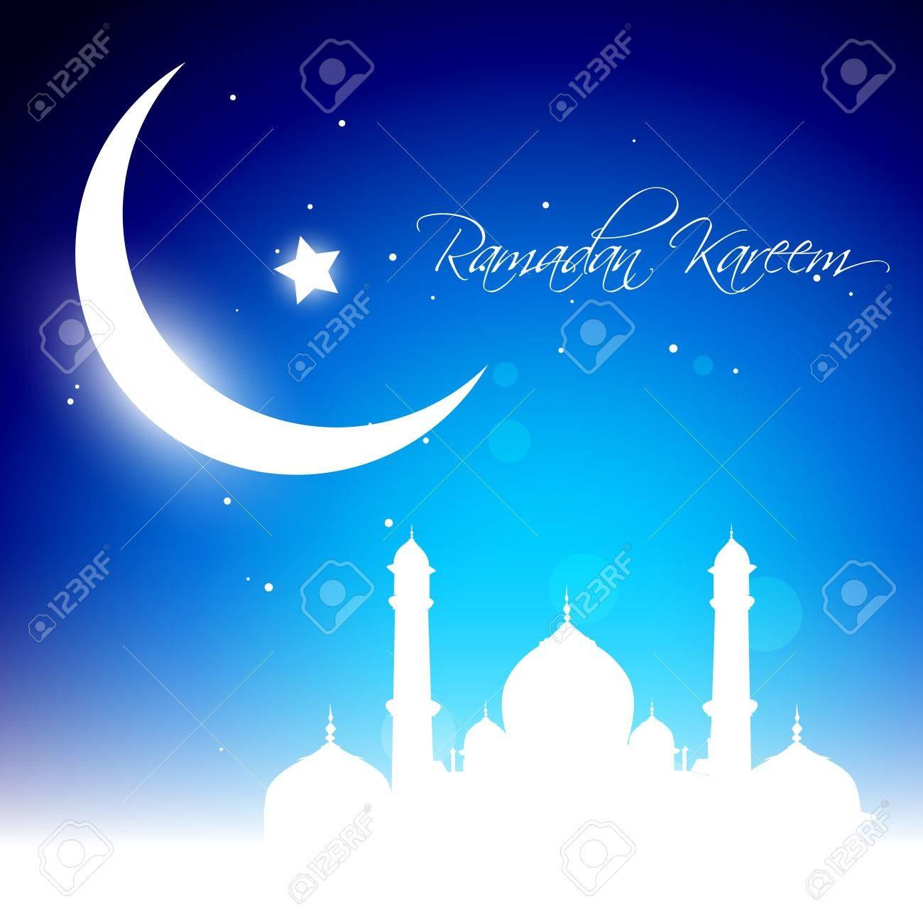 beautiful glowing moon background. Ramadhan kareem vector Stock Vector - 14470297