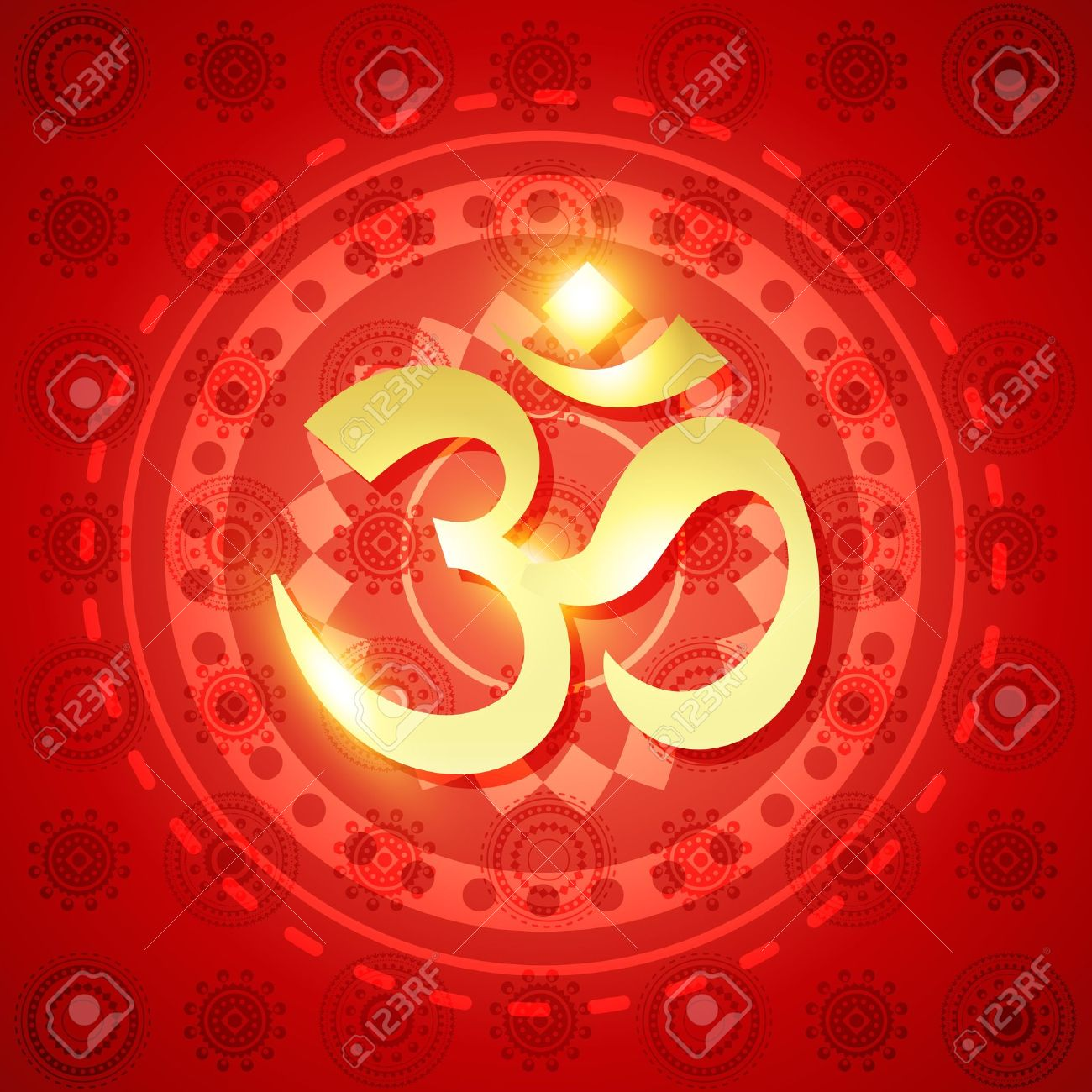 beautiful shiny om sign on red background Stock Vector - 15656042