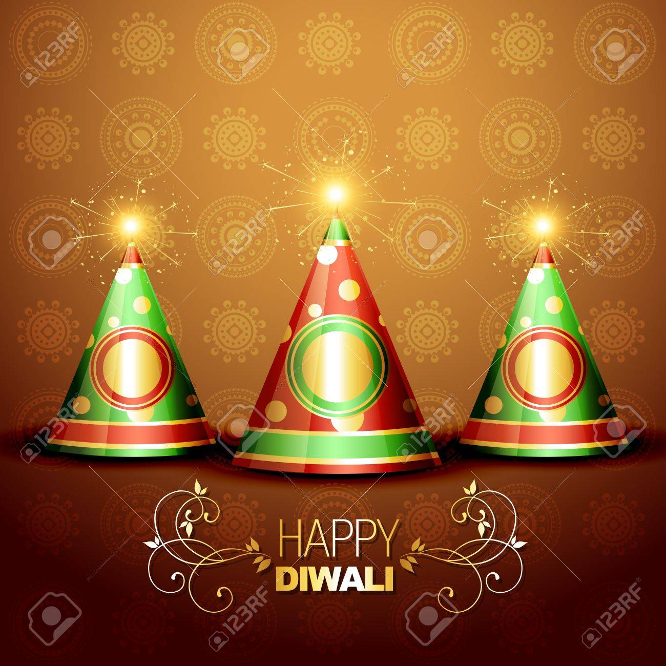 diwali festival crackers on artistic background Stock Vector - 15656133
