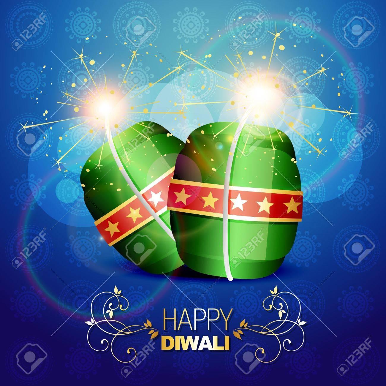 diwali festival crackers on artistic background Stock Vector - 15656108