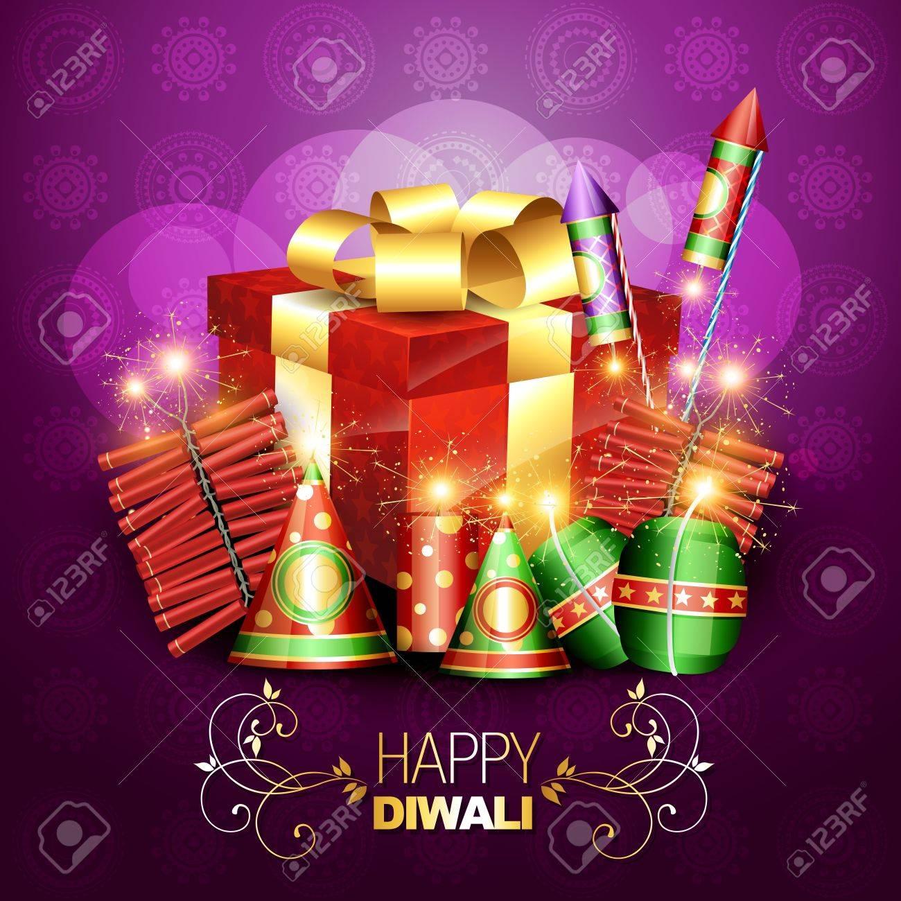 stylish diwali crackers with gift box design illustration Stock Vector - 15656236