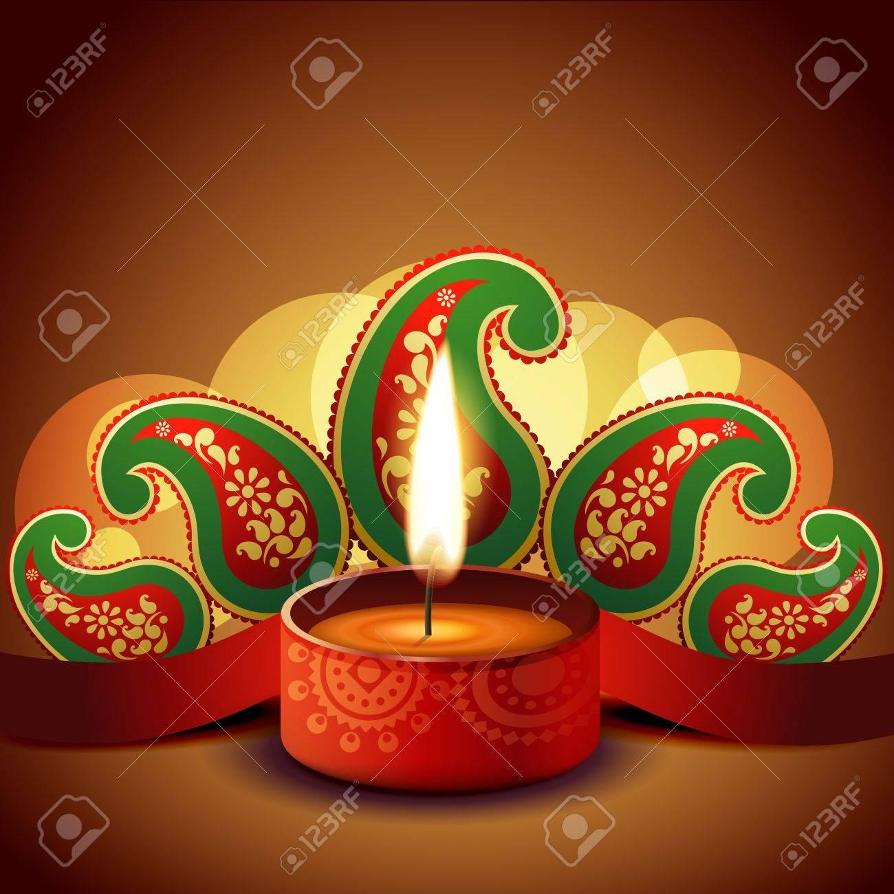 beautiful diwali diya on artistic background Stock Vector - 15656160
