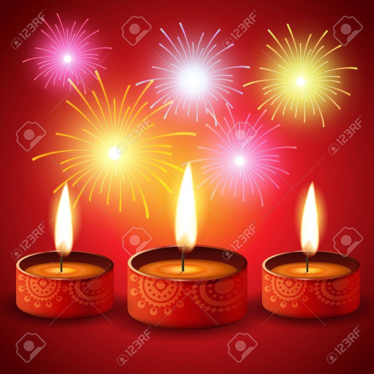 diwali fireworks with diya background Stock Vector - 15652008